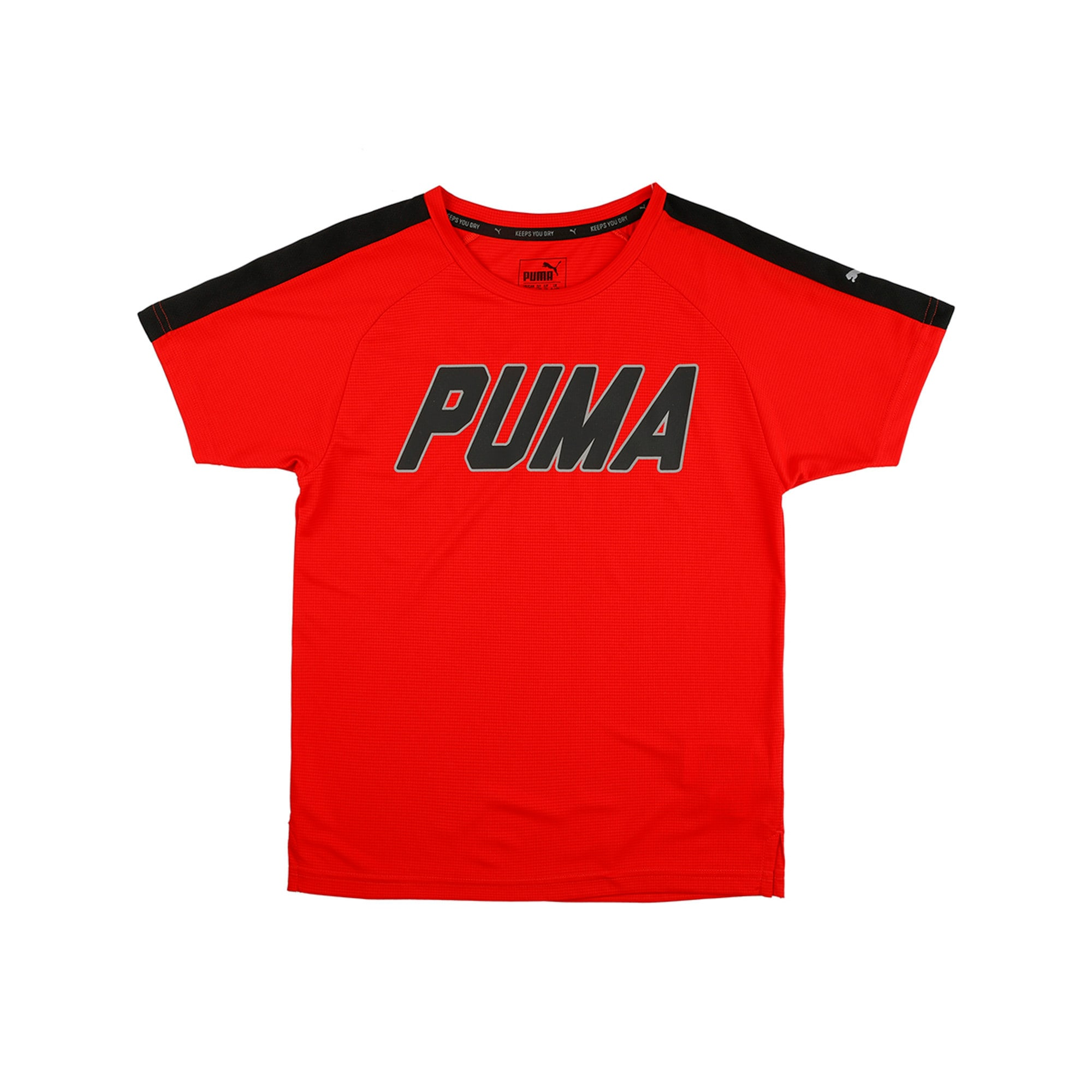 Thumbnail 2 of Gym Graphic Tee Puma Black, Flame Scarlet, medium-IND