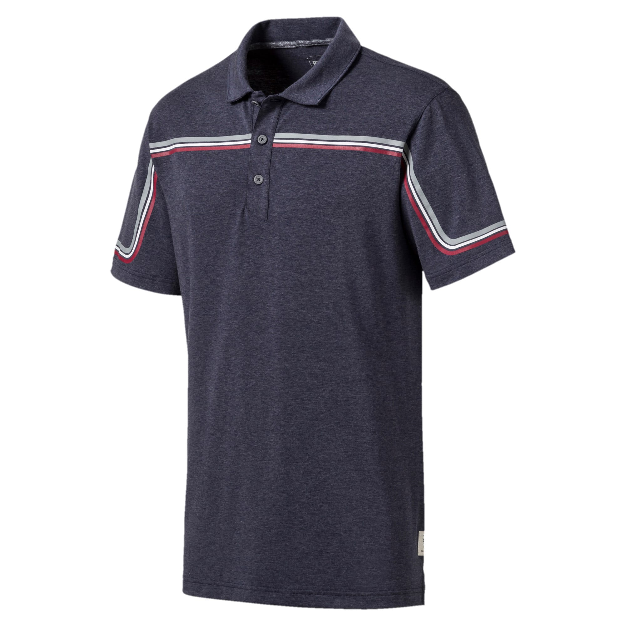 Looping Men's Golf Polo, Peacoat Heather, large