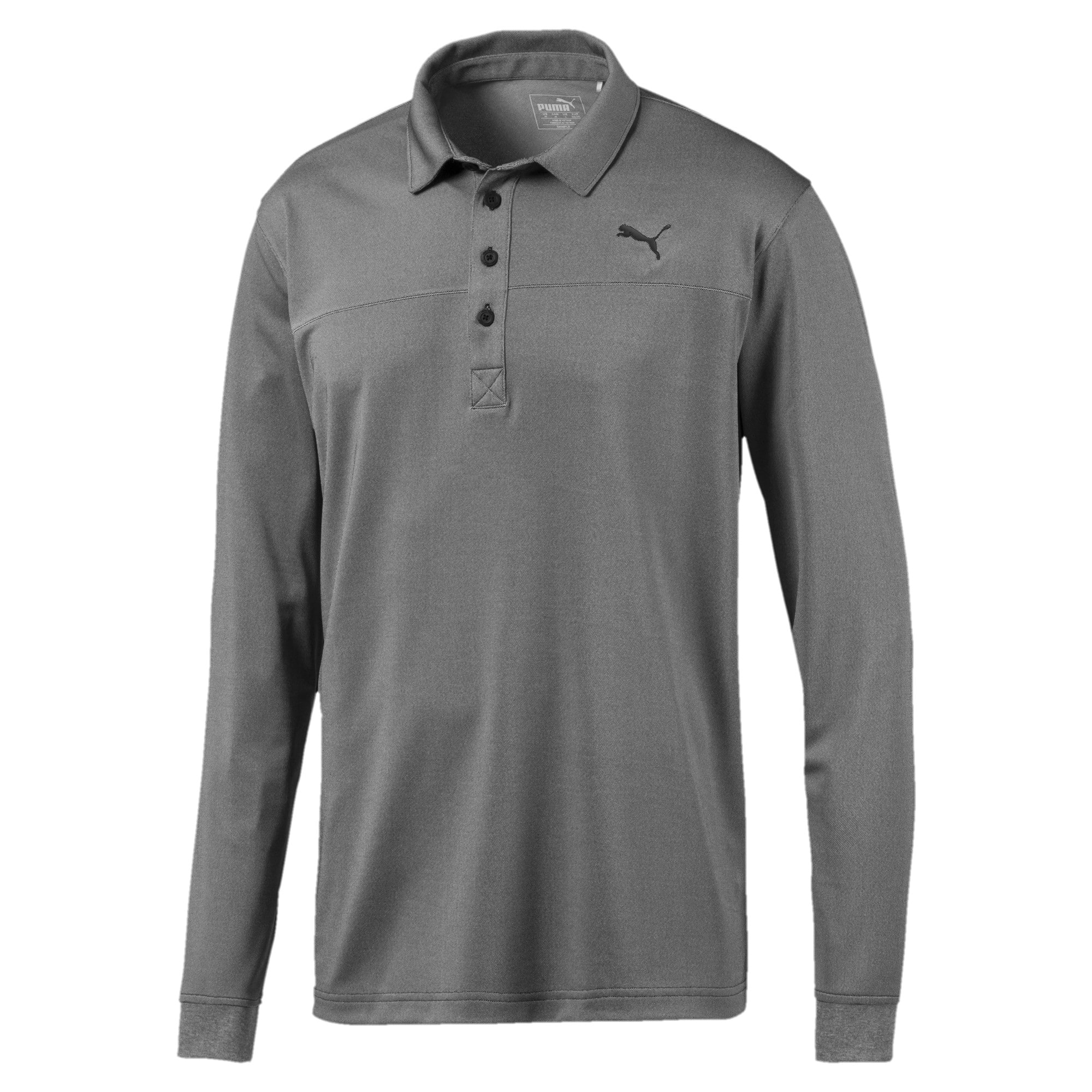 Thumbnail 5 of Long Sleeve Men's Golf Polo, Puma Black Heather, medium
