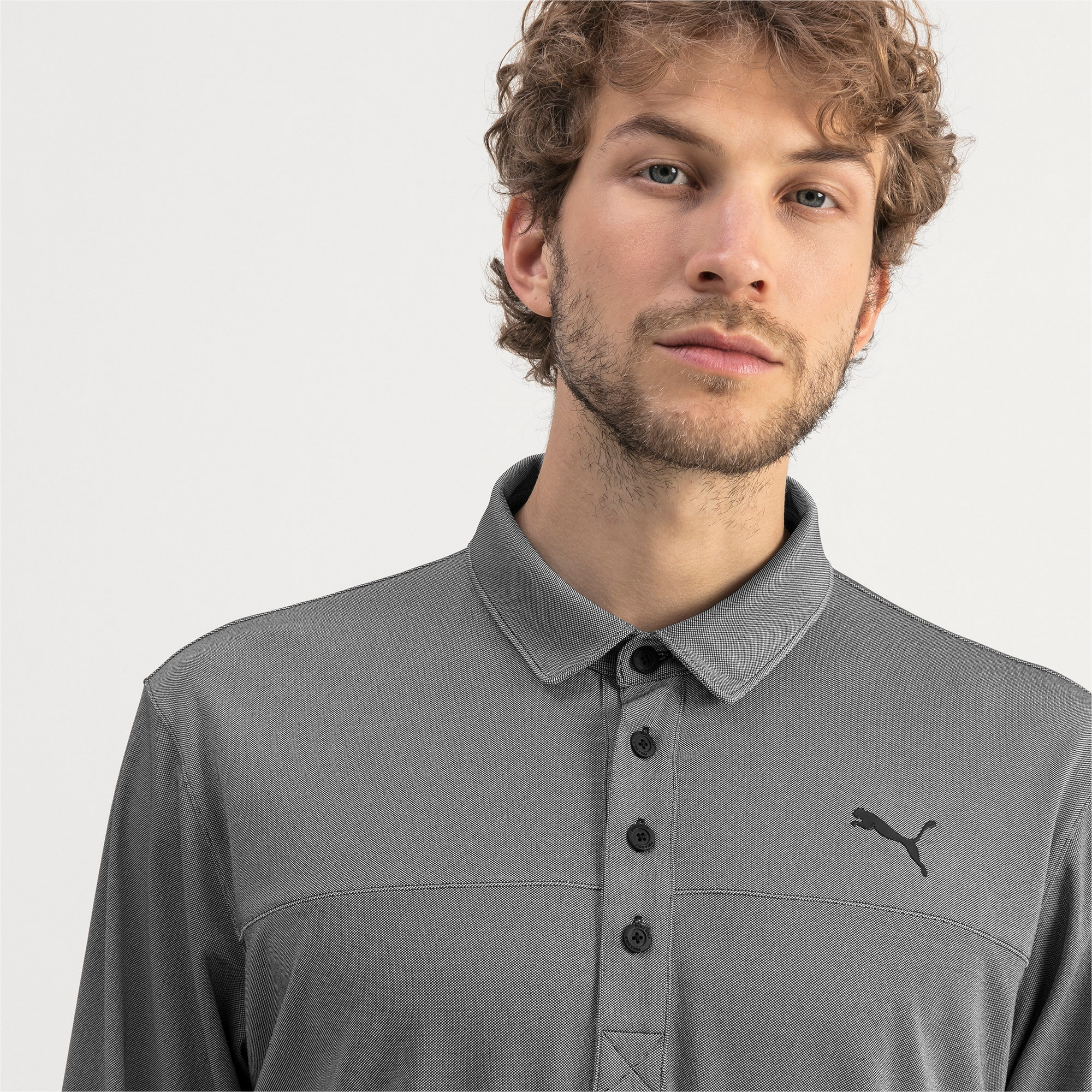 Thumbnail 4 of Long Sleeve Men's Golf Polo, Puma Black Heather, medium