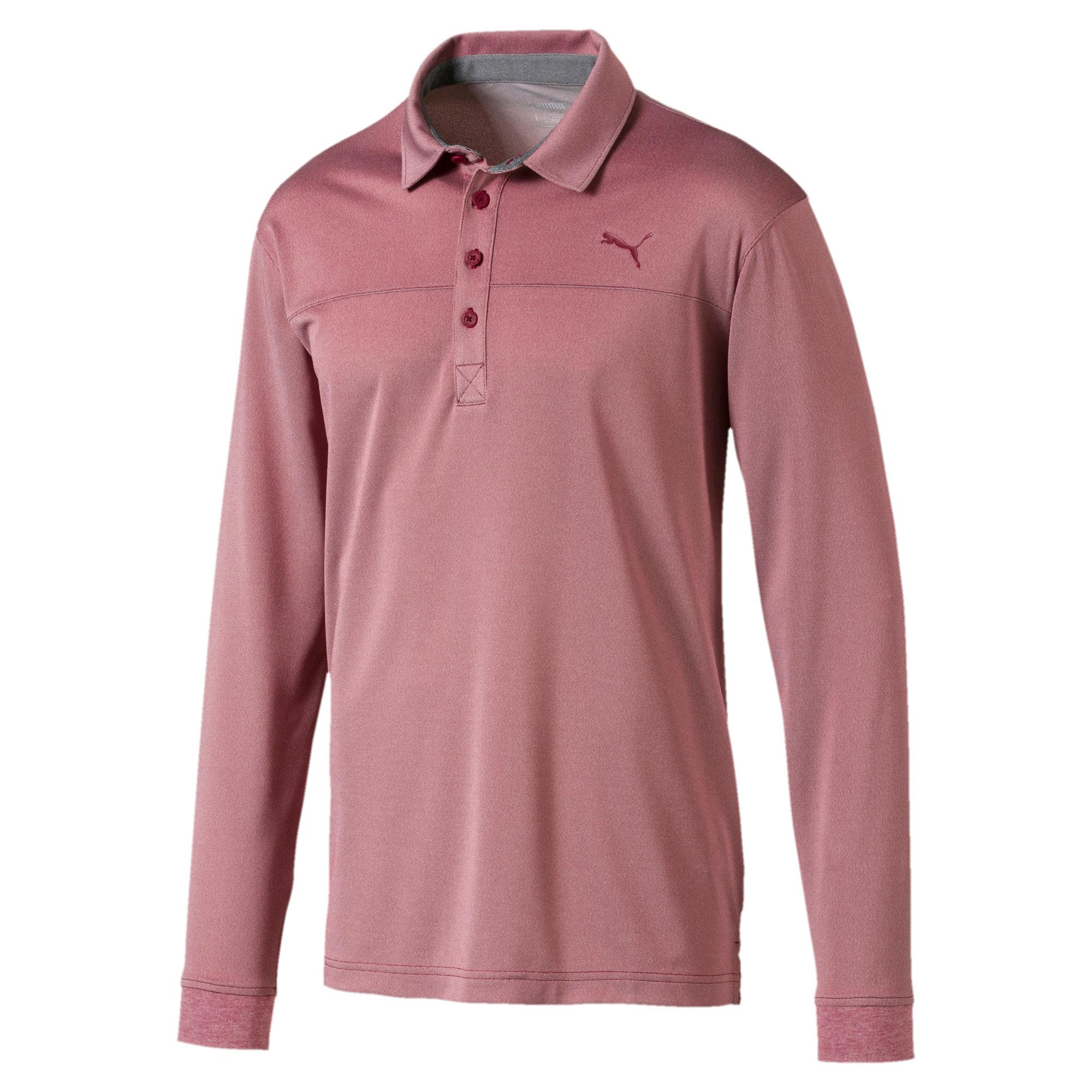 Thumbnail 4 of Long Sleeve Men's Golf Polo, Rhubarb Heather, medium