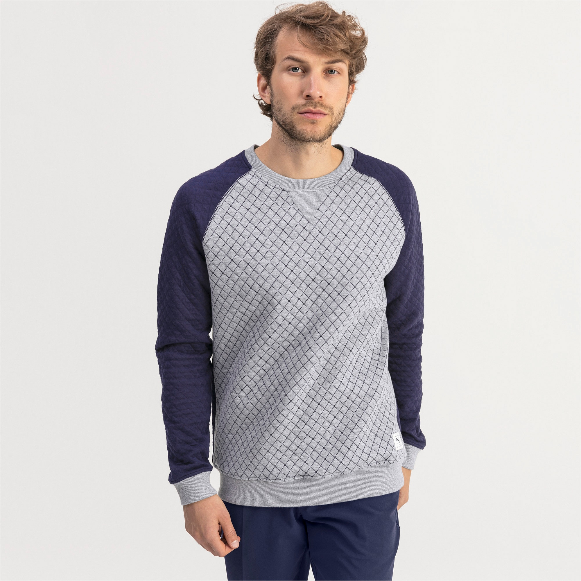 Thumbnail 1 of Doorgestikte golfsweater voor heren, Quarry Heather, medium