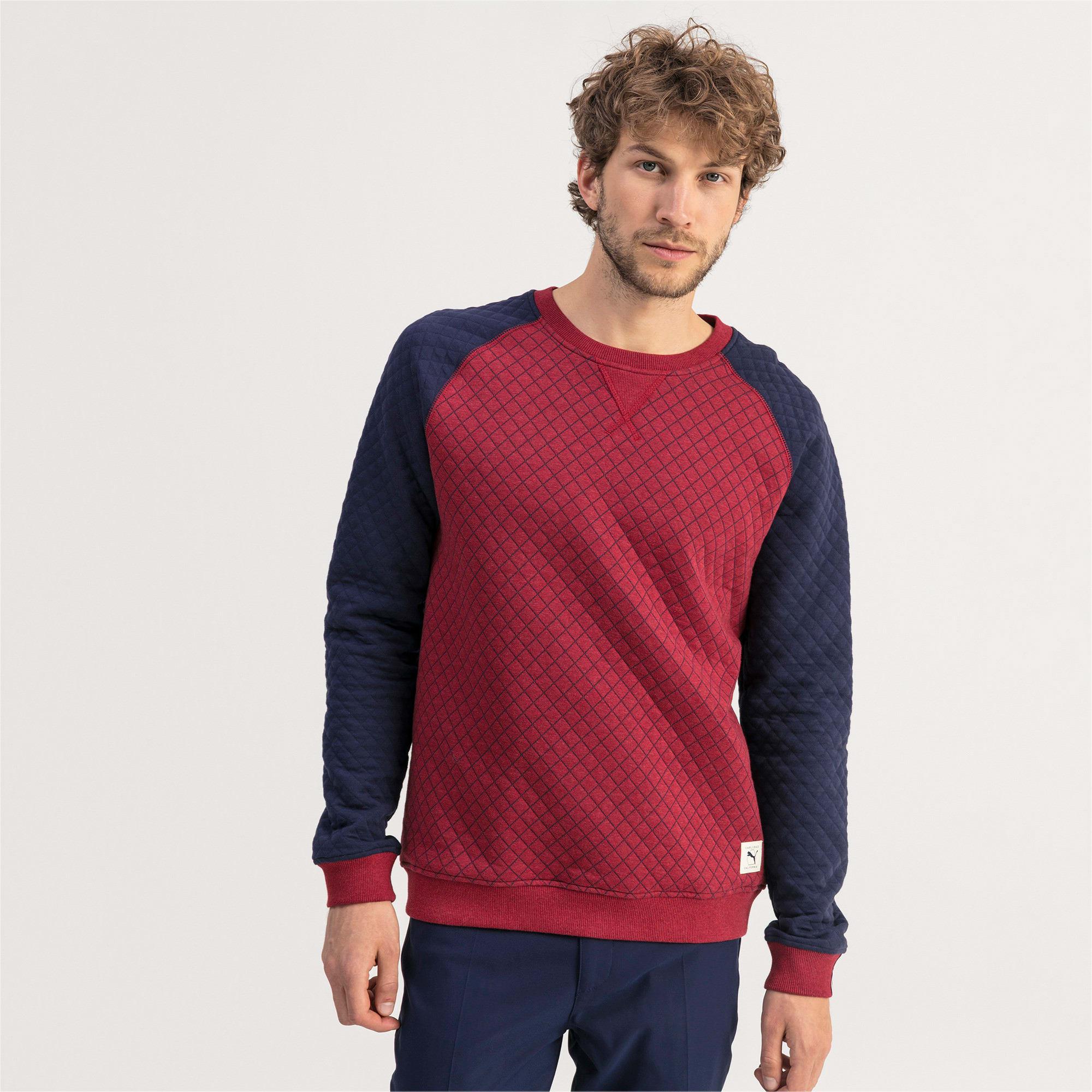 Thumbnail 1 of Doorgestikte golfsweater voor heren, Rhubarb Heather, medium