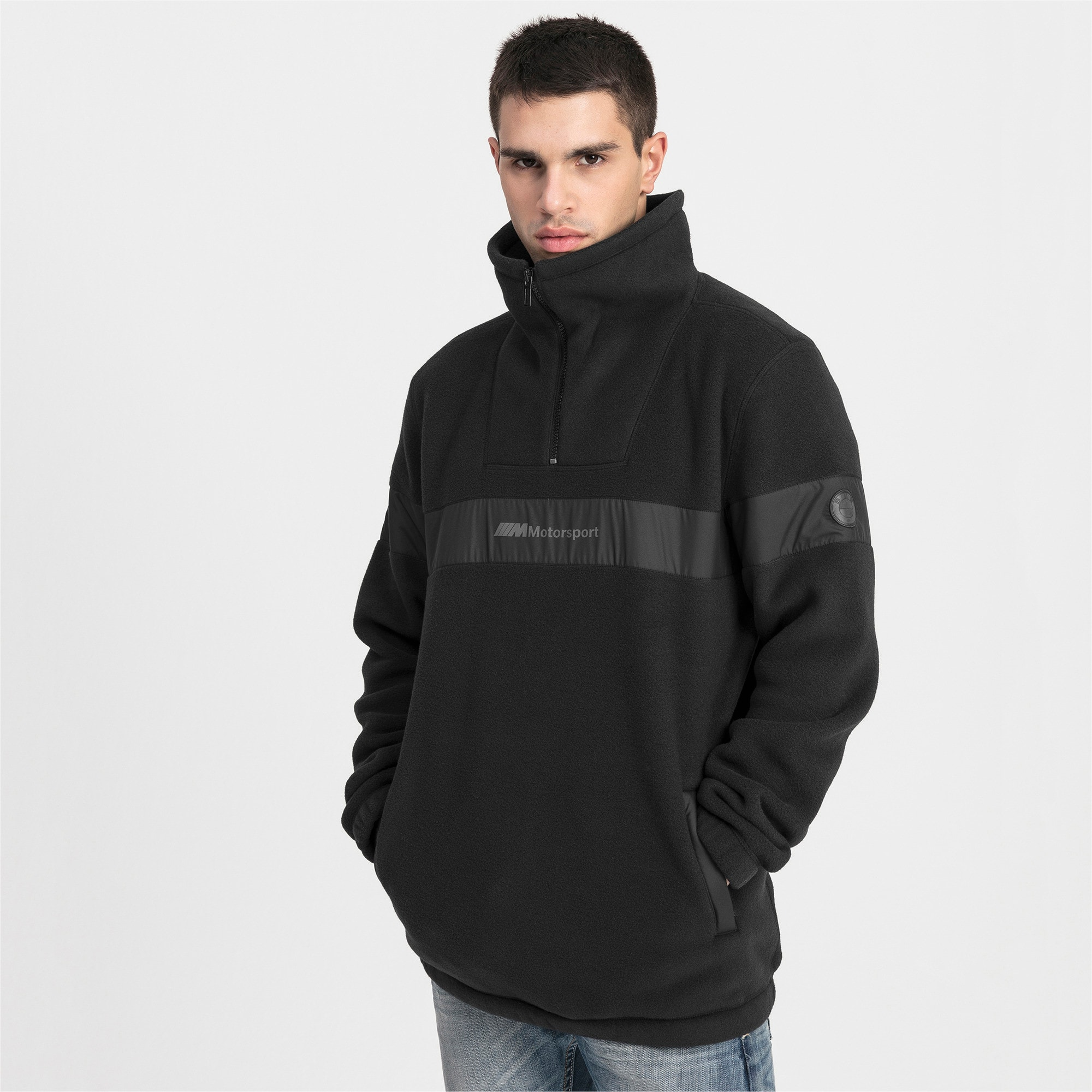 Thumbnail 1 of Pull BMW Motorsport Fleece Half Zip pour homme, Puma Black, medium