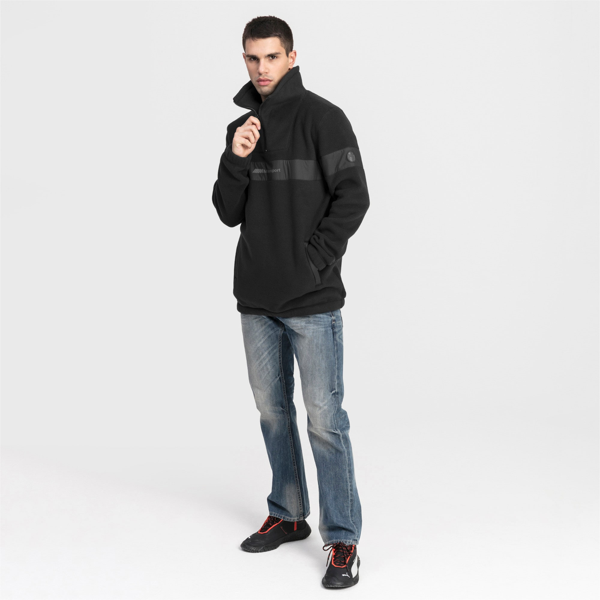 Thumbnail 3 of Pull BMW Motorsport Fleece Half Zip pour homme, Puma Black, medium