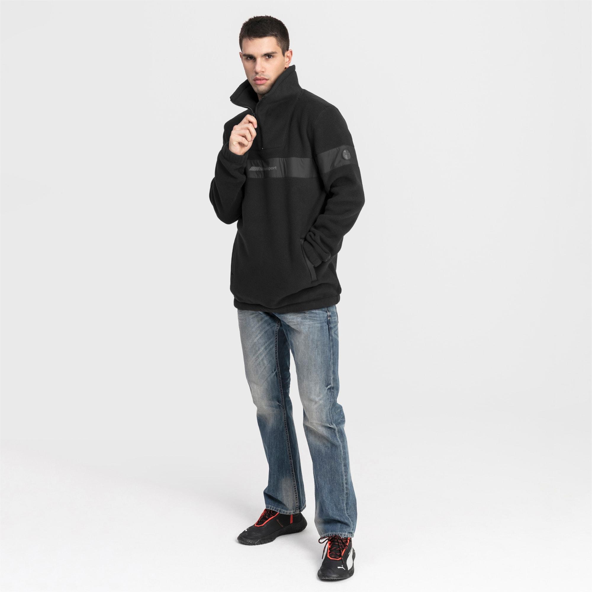 BMW Motorsport Fleece Half Zip Herren Pullover | Puma Black