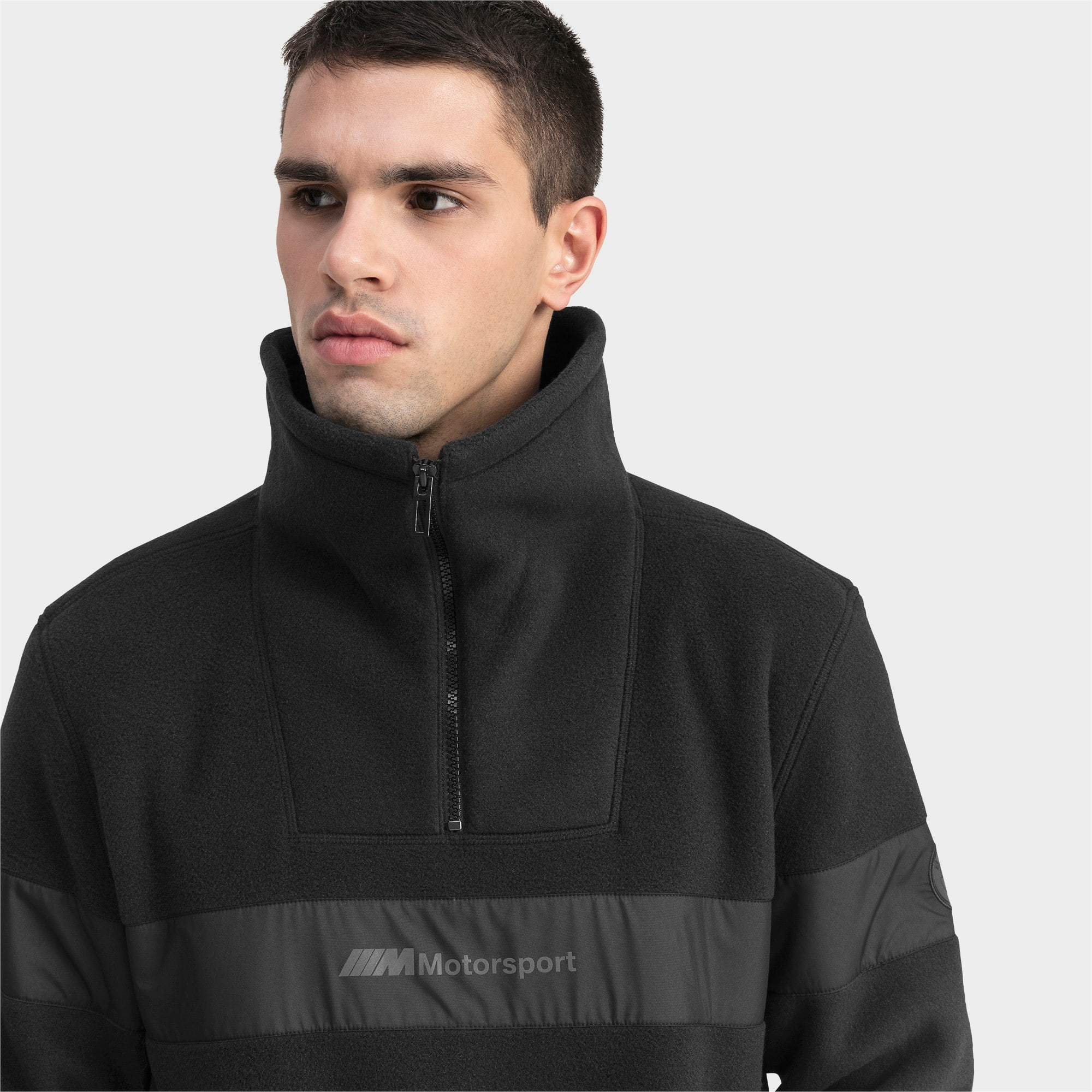 Thumbnail 4 of Pull BMW Motorsport Fleece Half Zip pour homme, Puma Black, medium
