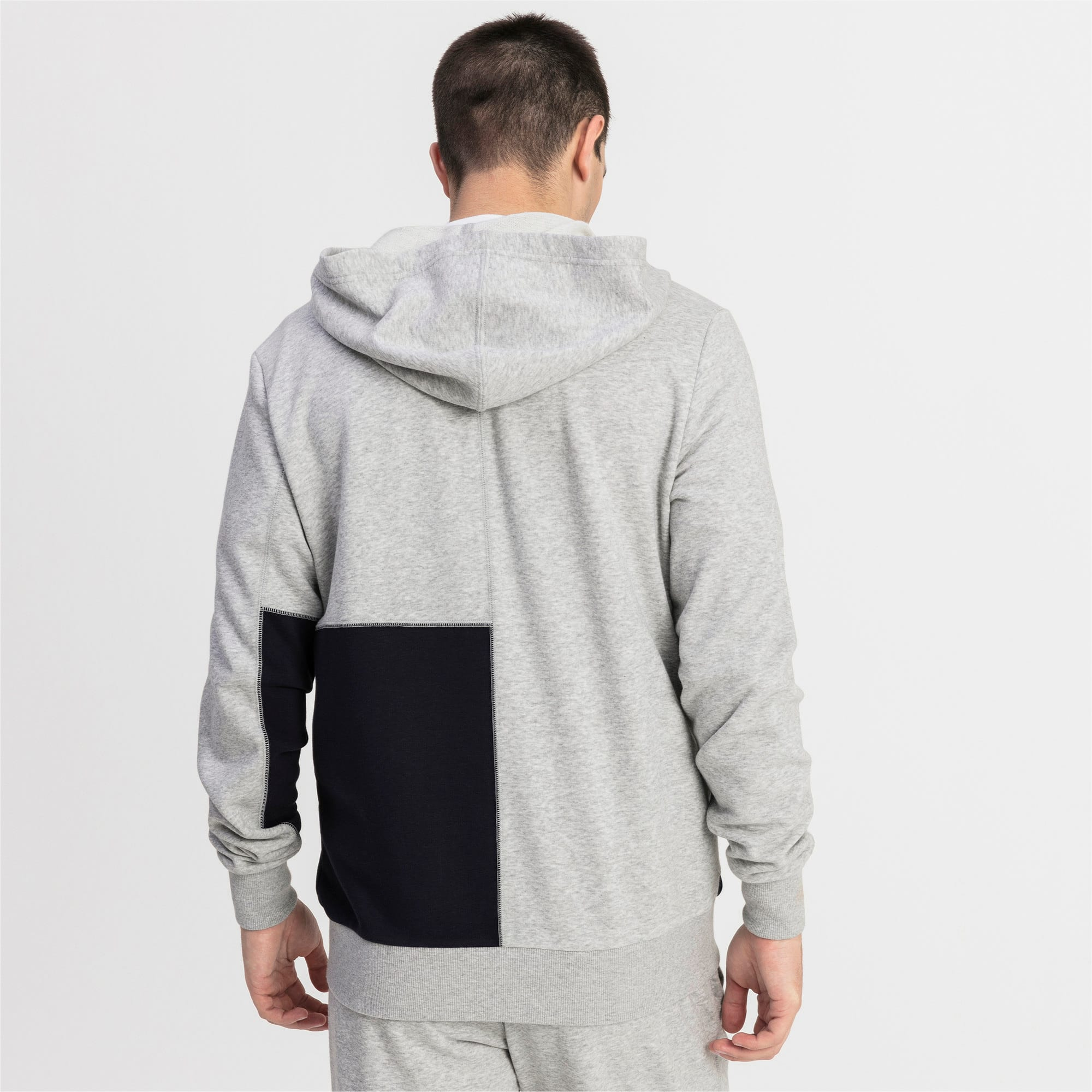 Thumbnail 2 of RBR Logo Hooded Men's Sweat Jacket, Light Gray Heather, medium