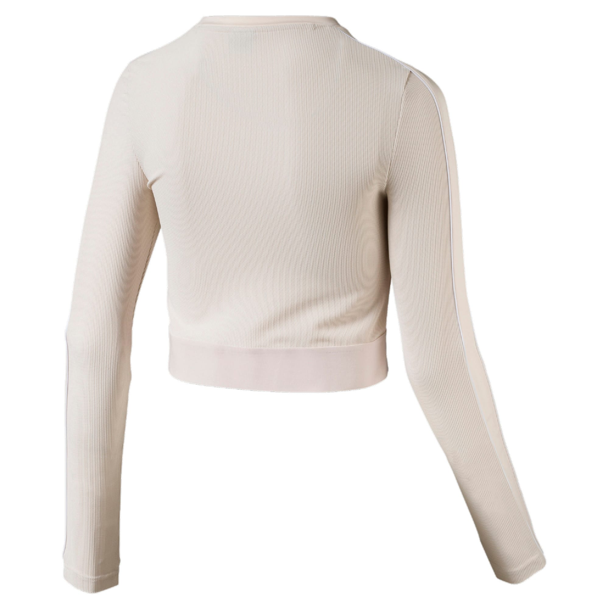 Thumbnail 5 of Classics Rib Cropped Long Sleeve Women's Top, Pastel Parchment, medium-SEA