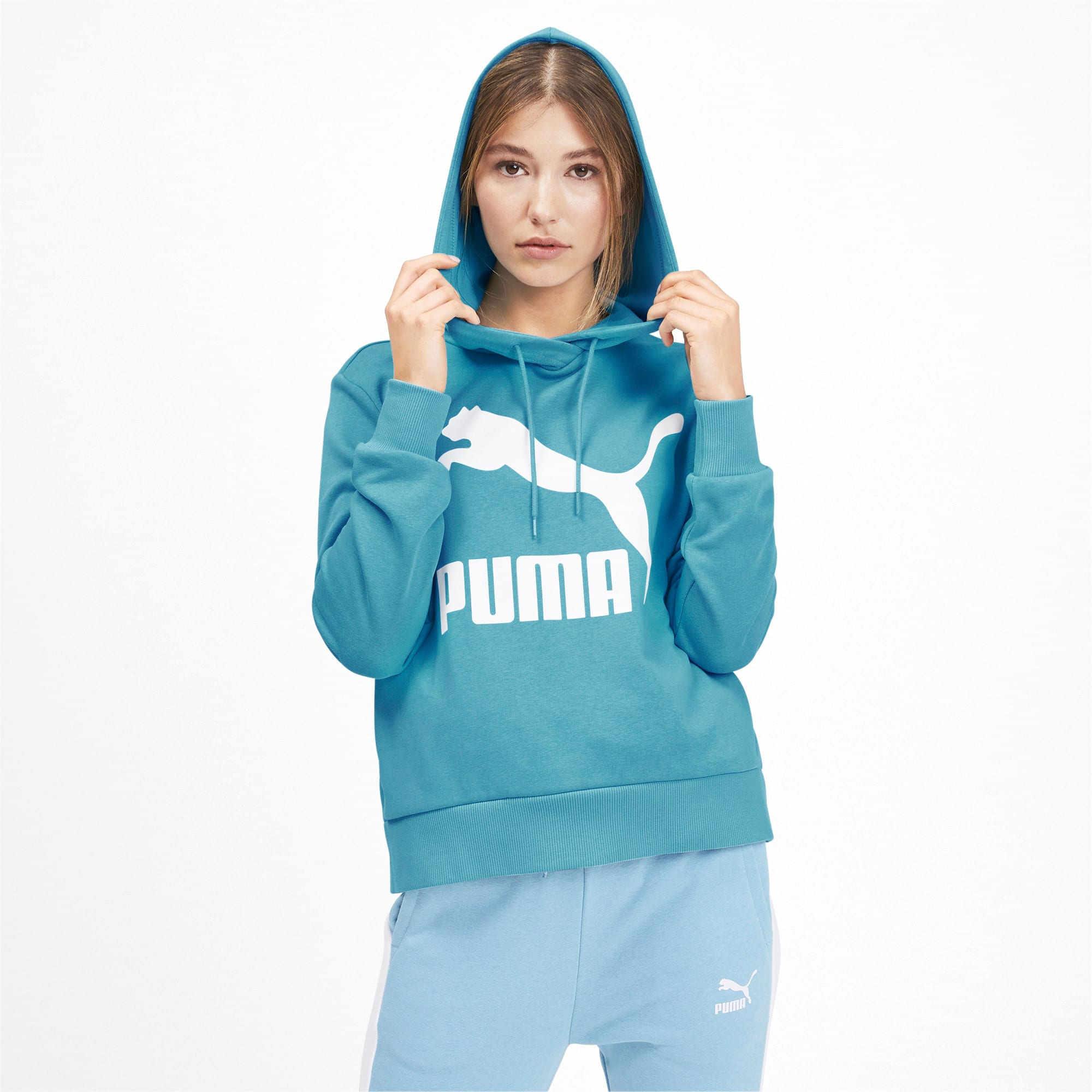 Thumbnail 2 of Classics Women's Logo Hoodie, Milky Blue, medium