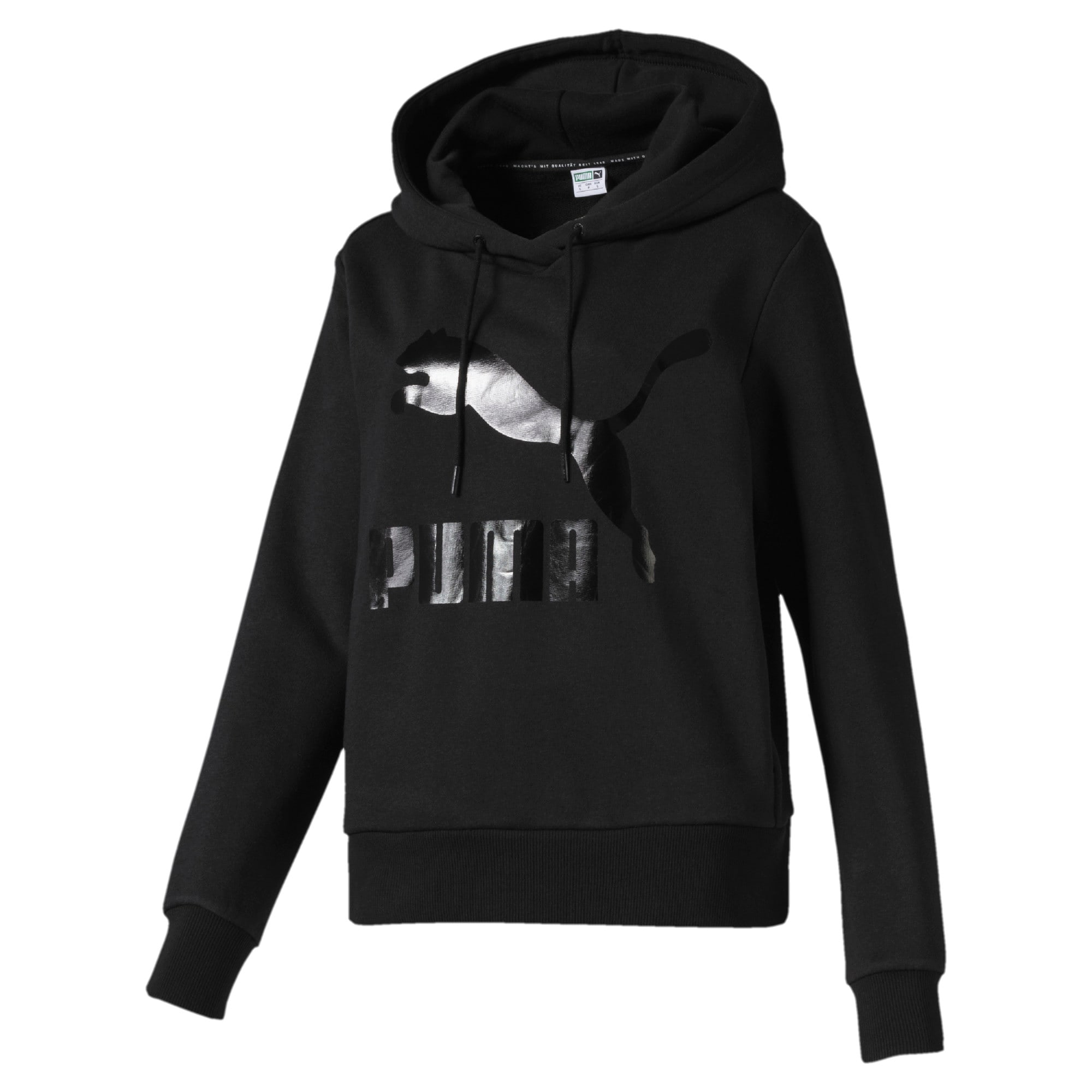 Thumbnail 1 of Classics Women's Logo Hoodie, Puma Black, medium