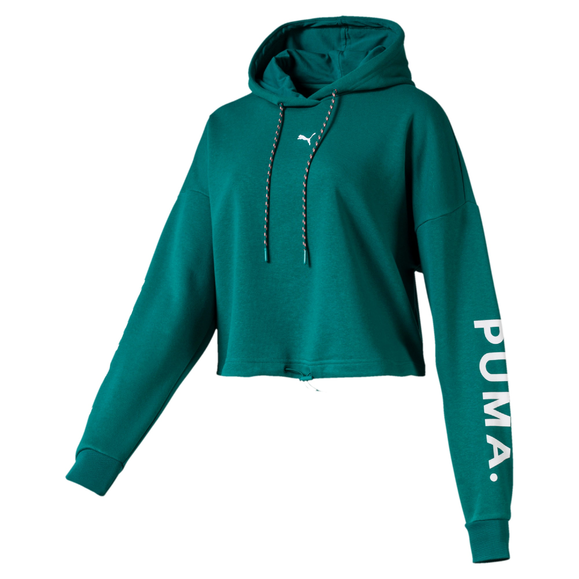 Thumbnail 1 of Chase Women's Cropped Hoodie, Teal Green, medium