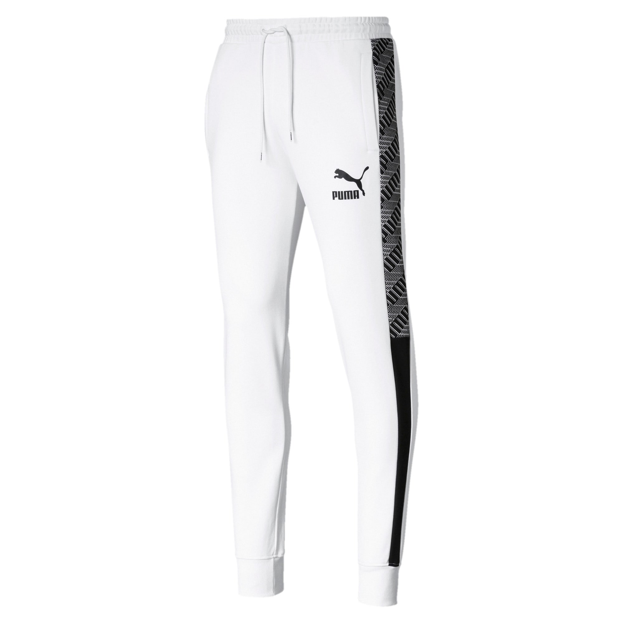 T7 Men's Track Pants, Puma White-Repeat logo, large-IND