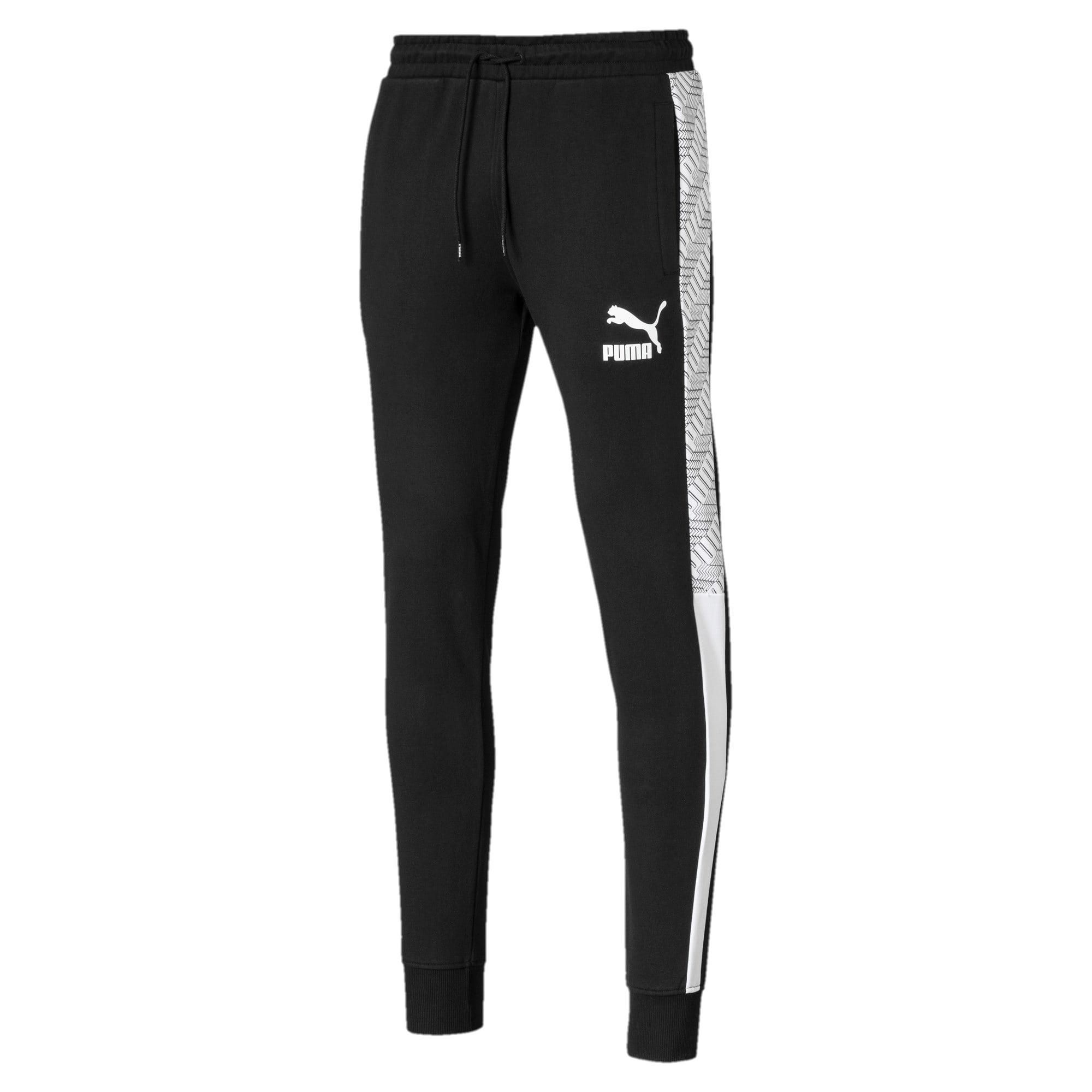 Thumbnail 1 of T7 Men's AOP Track Pants, Puma Black-Repeat logo, medium
