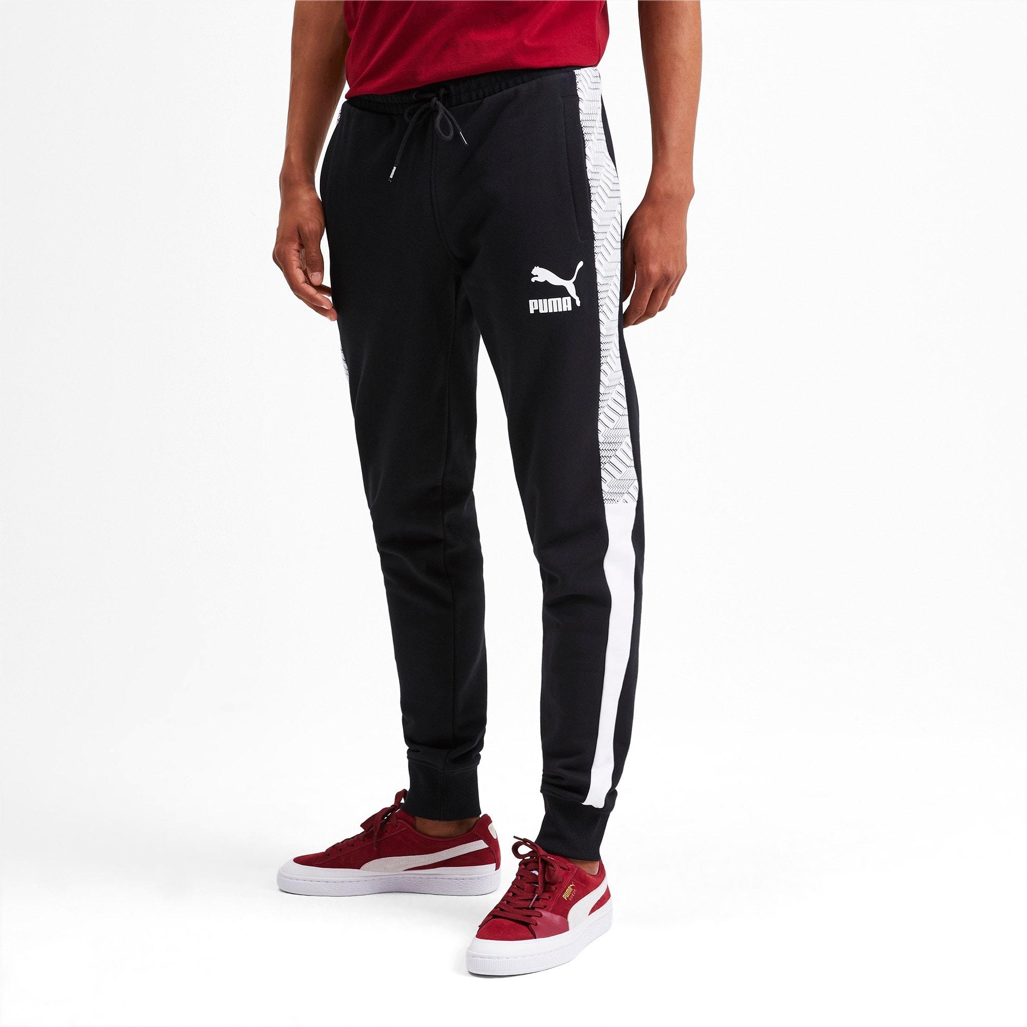 Thumbnail 2 of T7 Men's AOP Track Pants, Puma Black-Repeat logo, medium