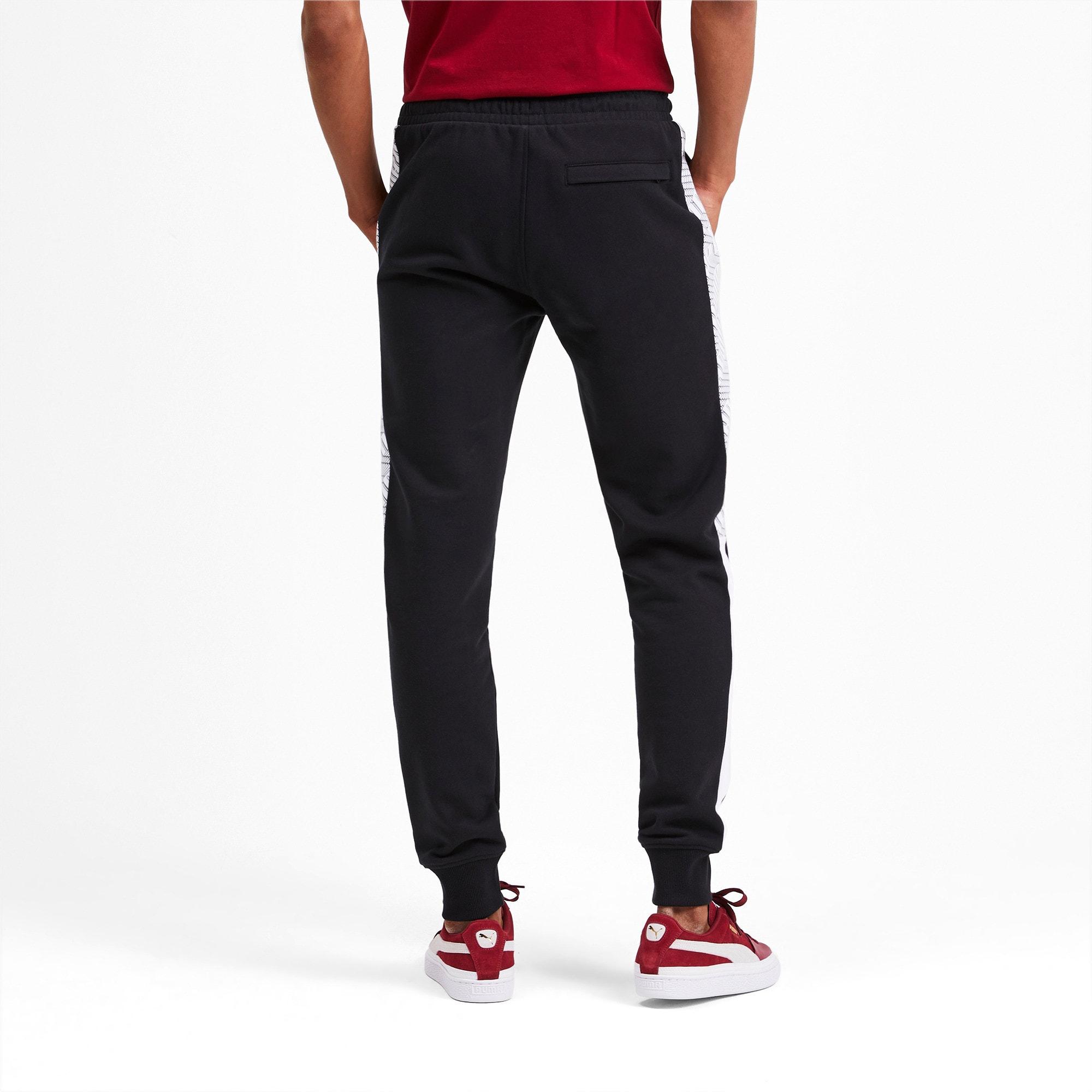 Thumbnail 3 of T7 Men's AOP Track Pants, Puma Black-Repeat logo, medium