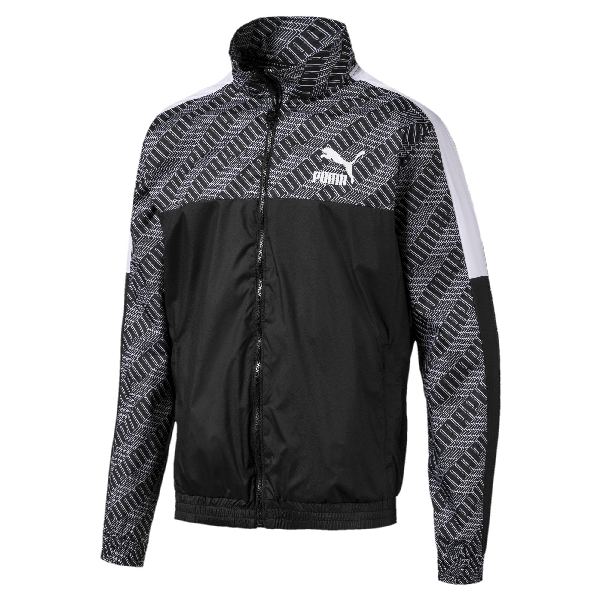 Thumbnail 1 of T7 Men's AOP Track Jacket, Puma Black-Repeat logo, medium