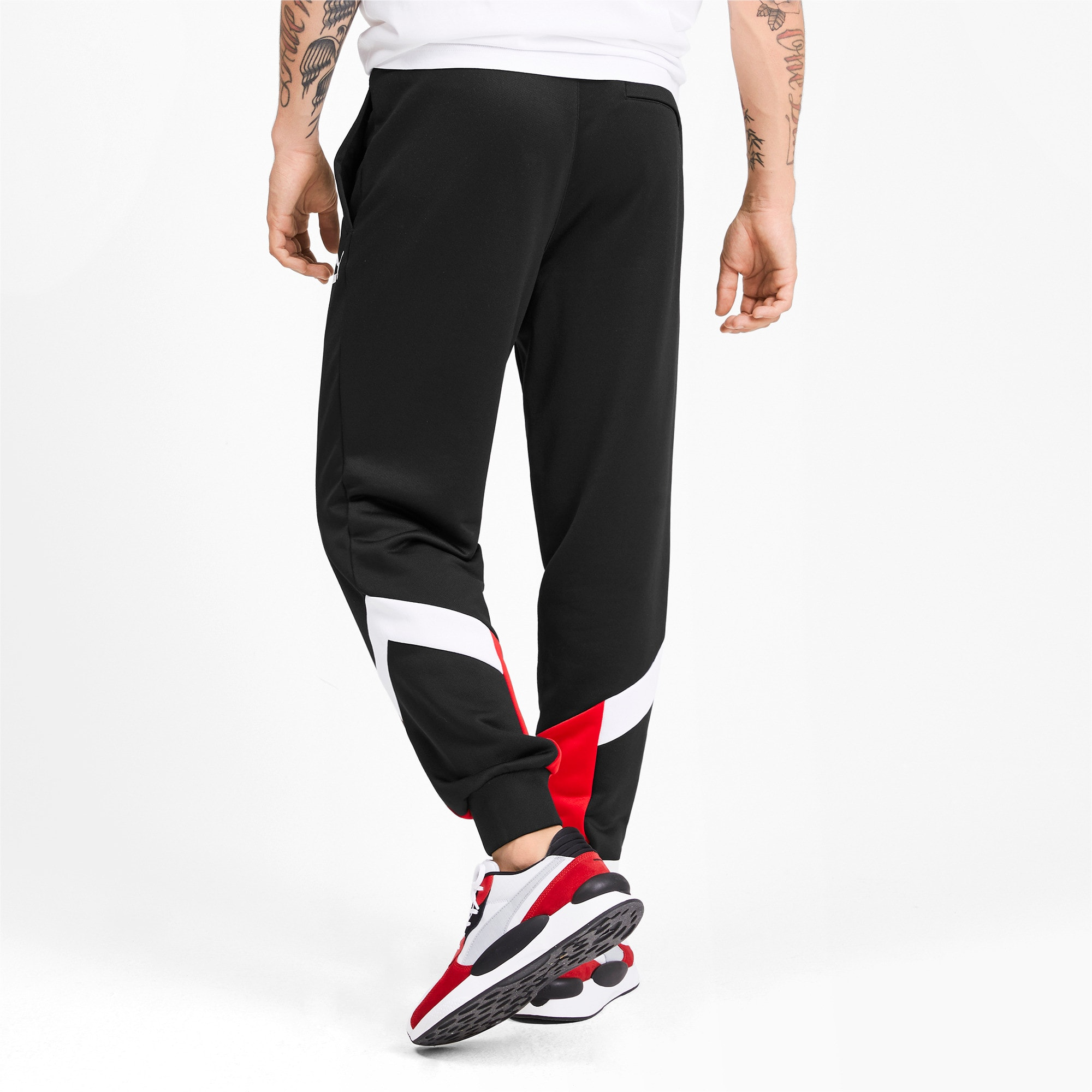 Thumbnail 2 of Iconic MCS Herren Gestrickte Trainingshose, Puma Black-Red combo, medium
