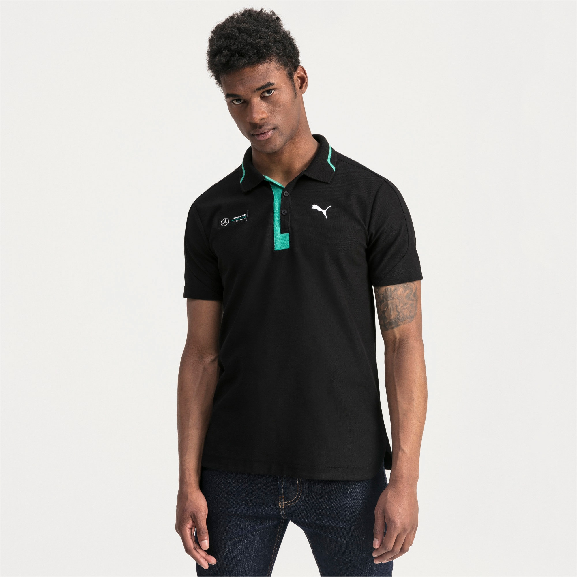 Thumbnail 1 of Mercedes AMG Petronas Men's Polo Shirt, Puma Black, medium
