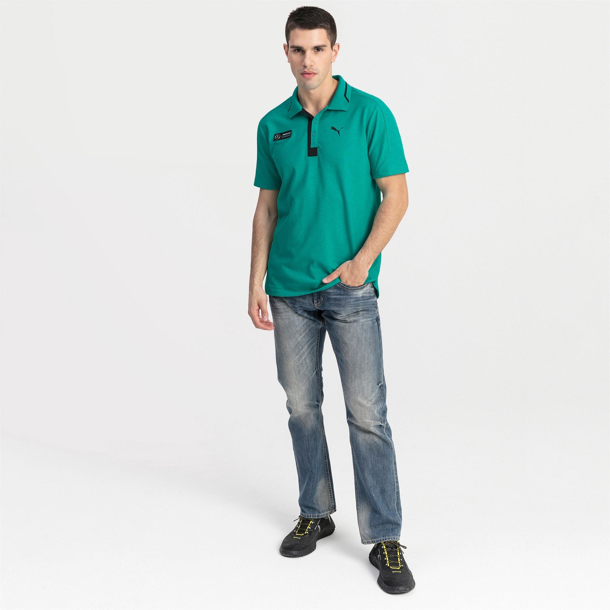 Thumbnail 3 of Mercedes AMG Petronas Men's Polo Shirt, Spectra Green Heather, medium