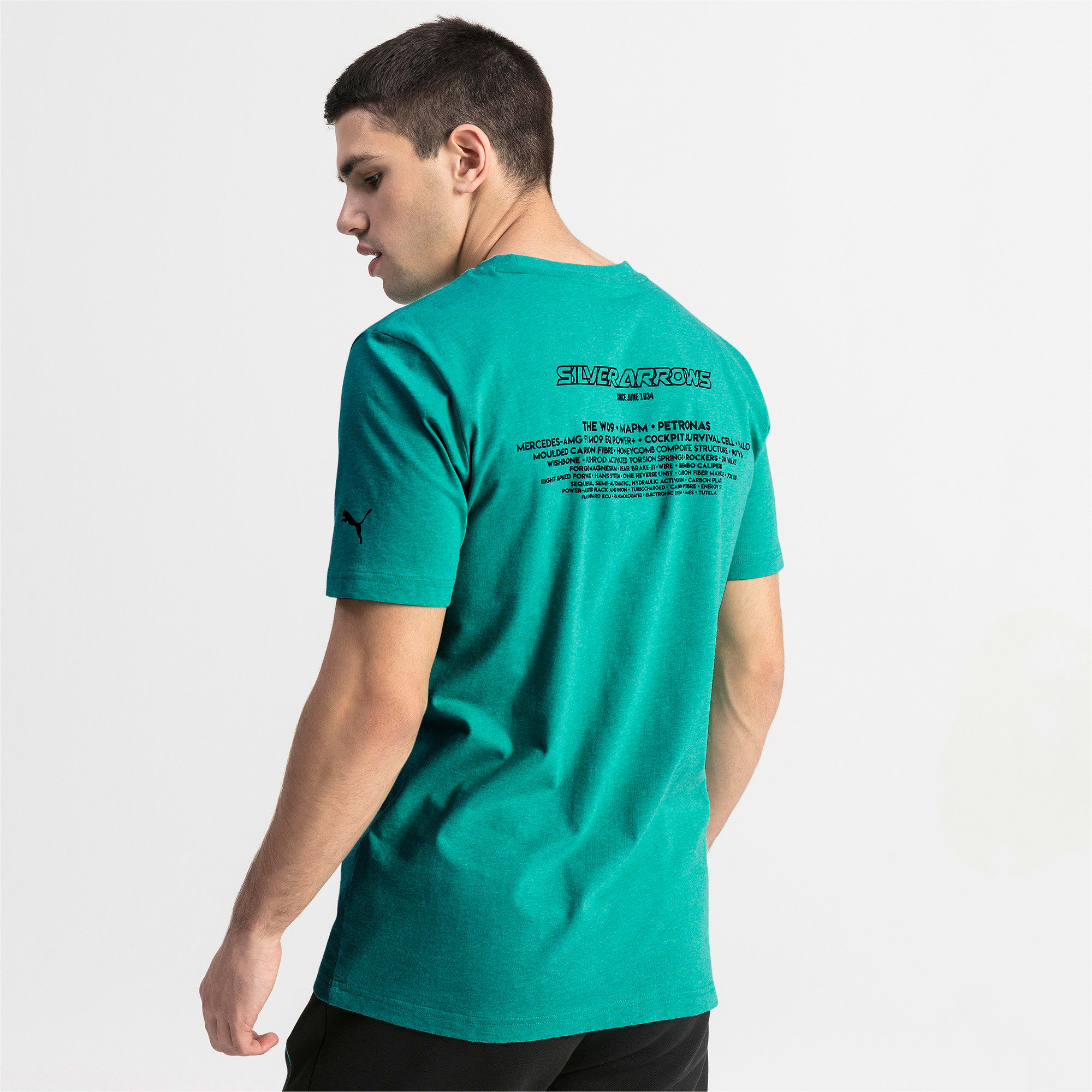 Thumbnail 2 of T-shirt Mercedes AMG Petronas uomo, Spectra Green Heather, medium