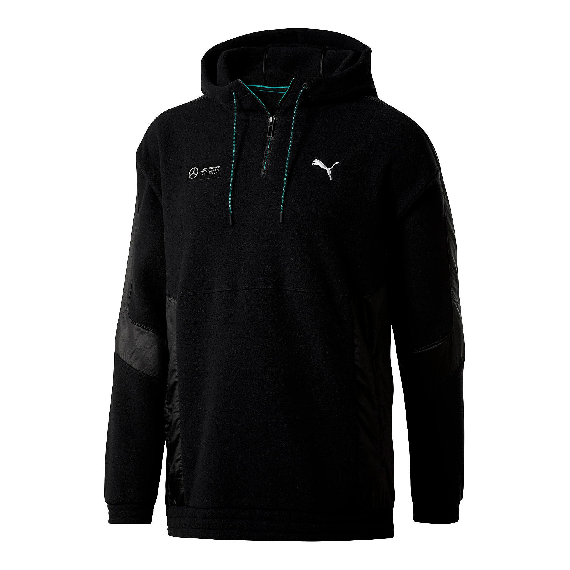 Thumbnail 1 of Mercedes AMG Petronas RCT Tech Fleece Men's Pullover, Puma Black, medium