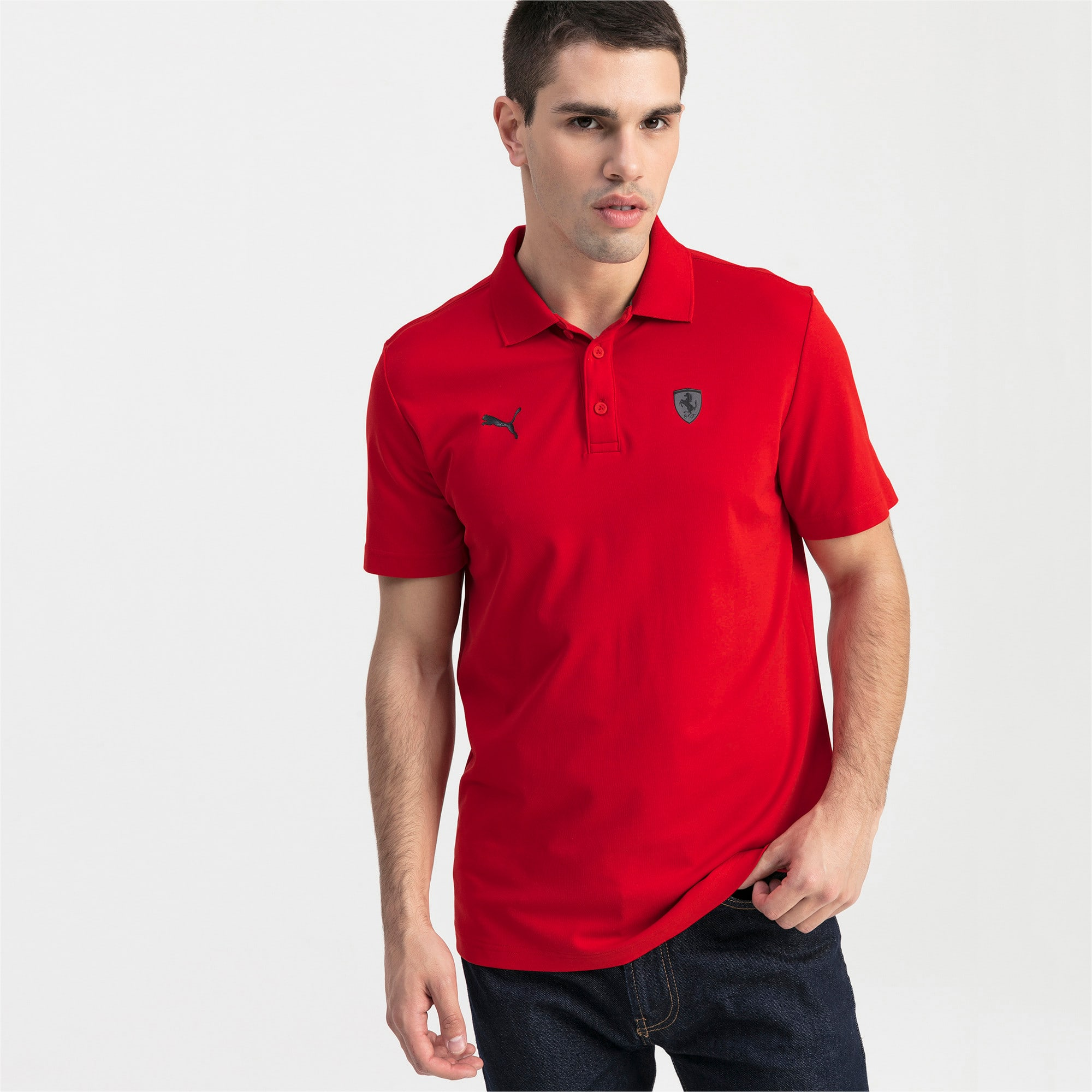 Thumbnail 1 of Ferrari Men's Polo Shirt, Rosso Corsa, medium