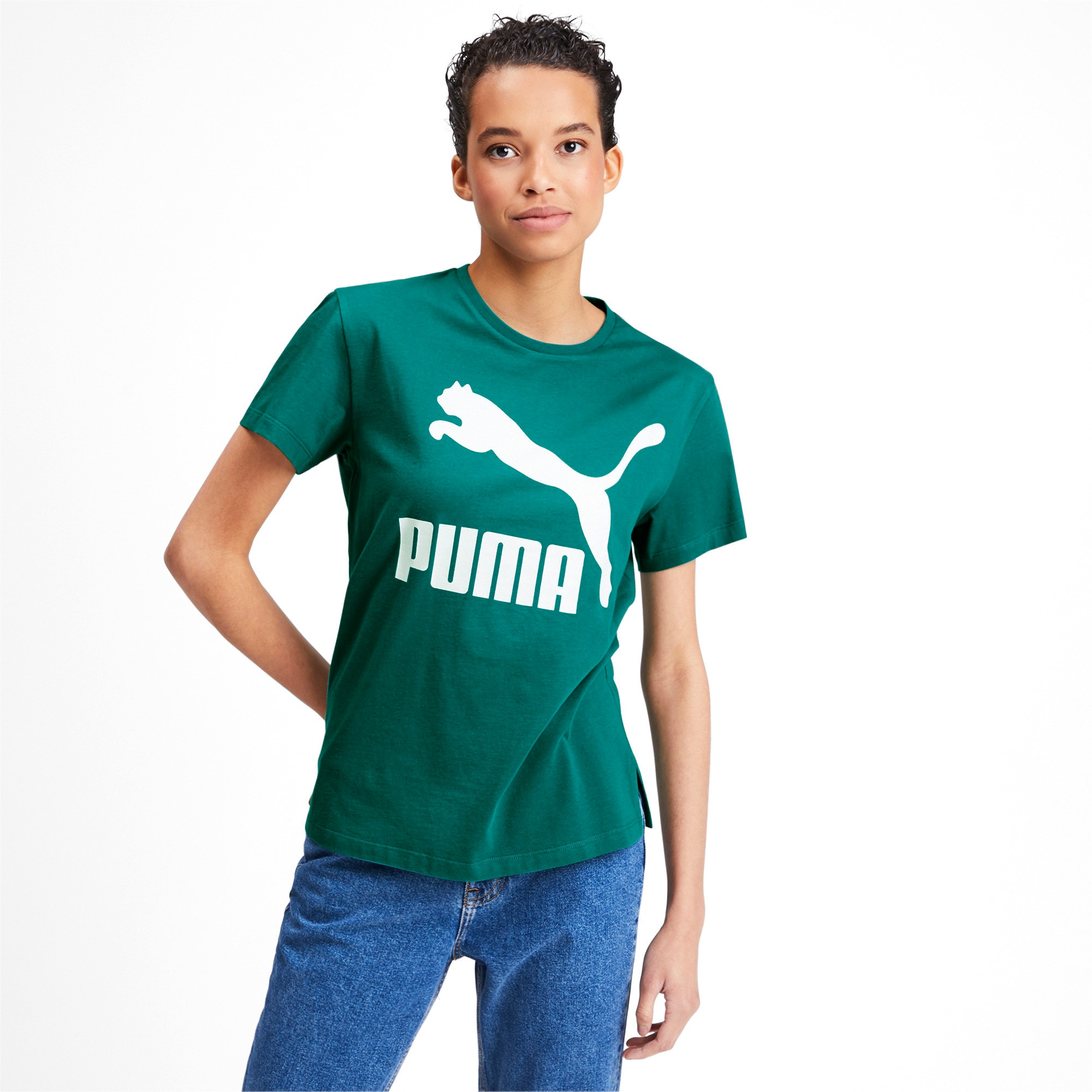 Miniatura 1 de Camiseta Classics con logotipo para mujer, Verde azulado, mediano