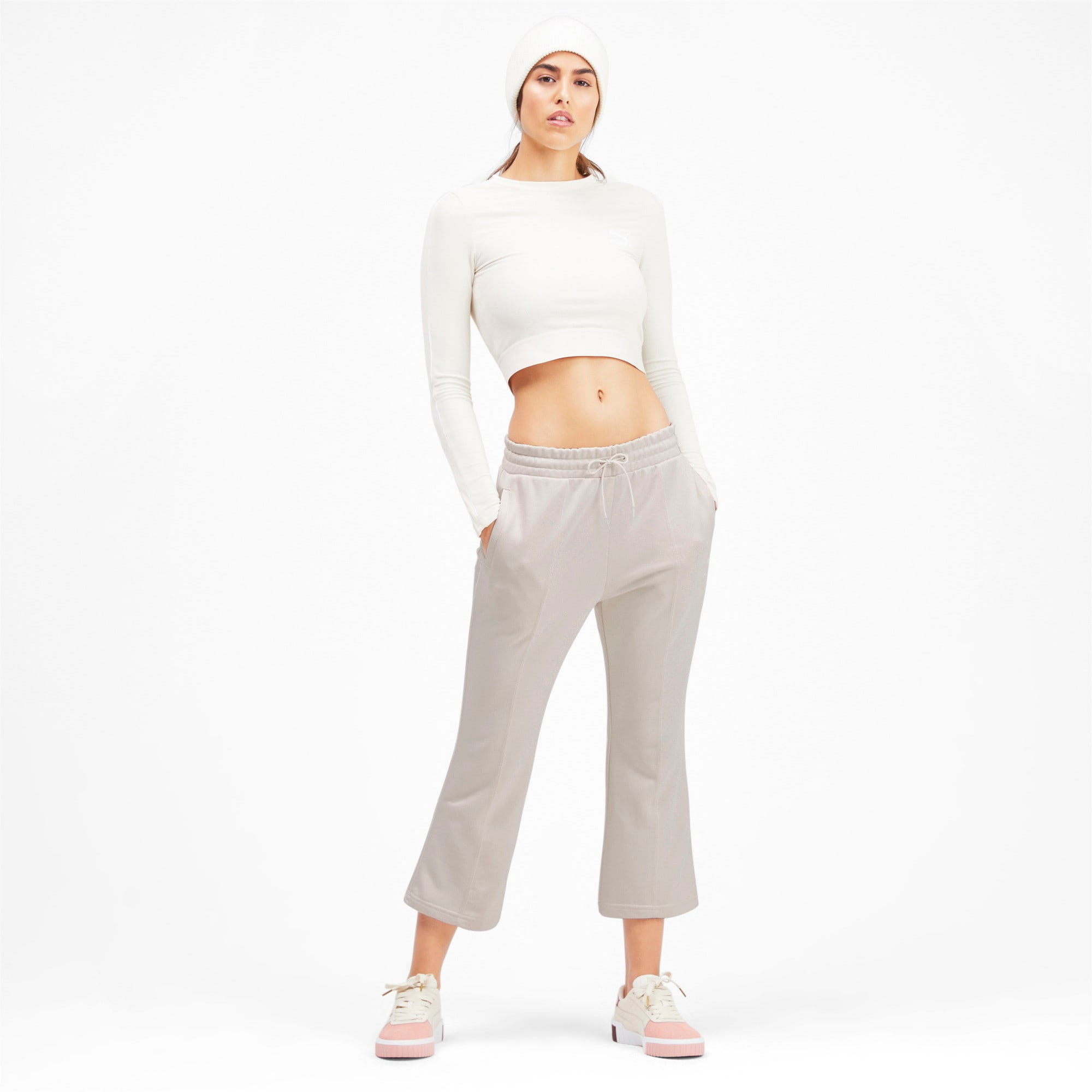 Thumbnail 3 of Classics Kick Flare Knitted Women's Pants, Pastel Parchment, medium