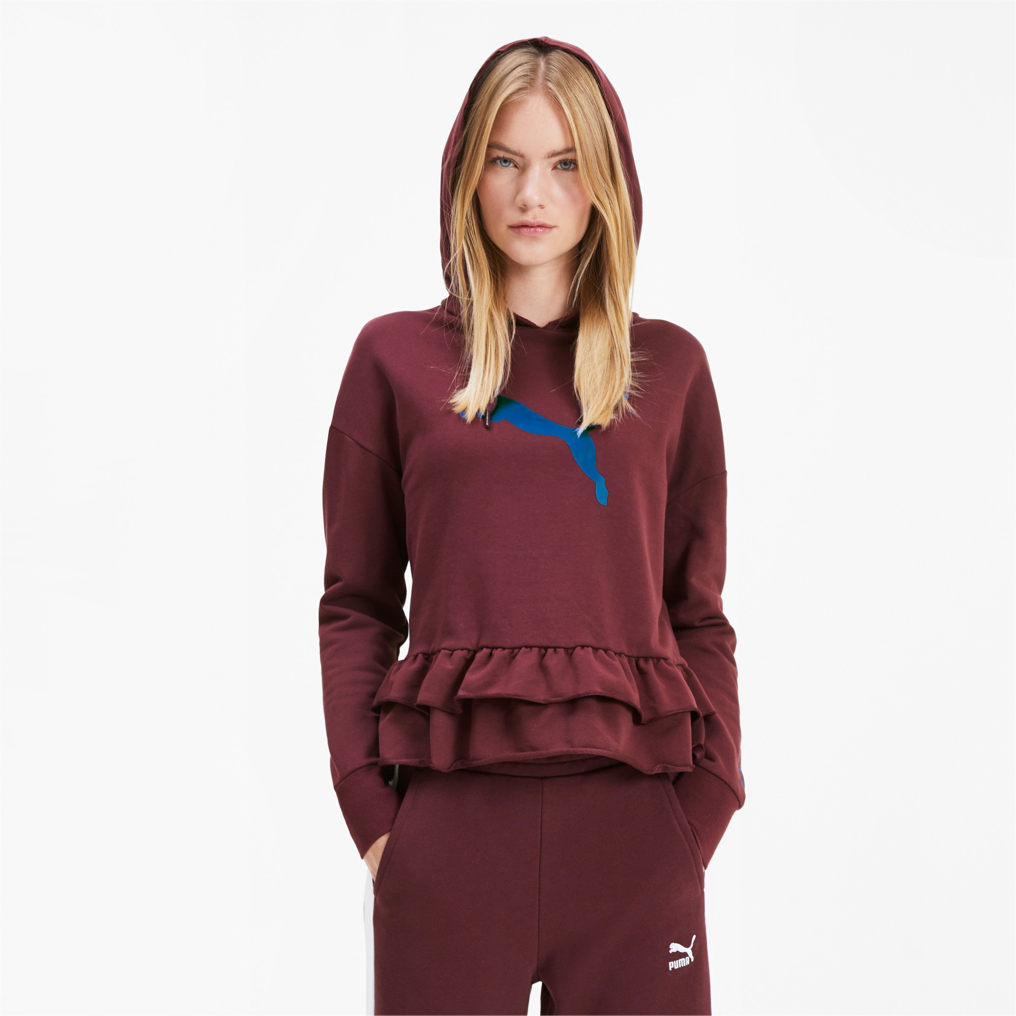 PUMA x TYAKASHA Damen Hoodie, Vineyard Wine, large