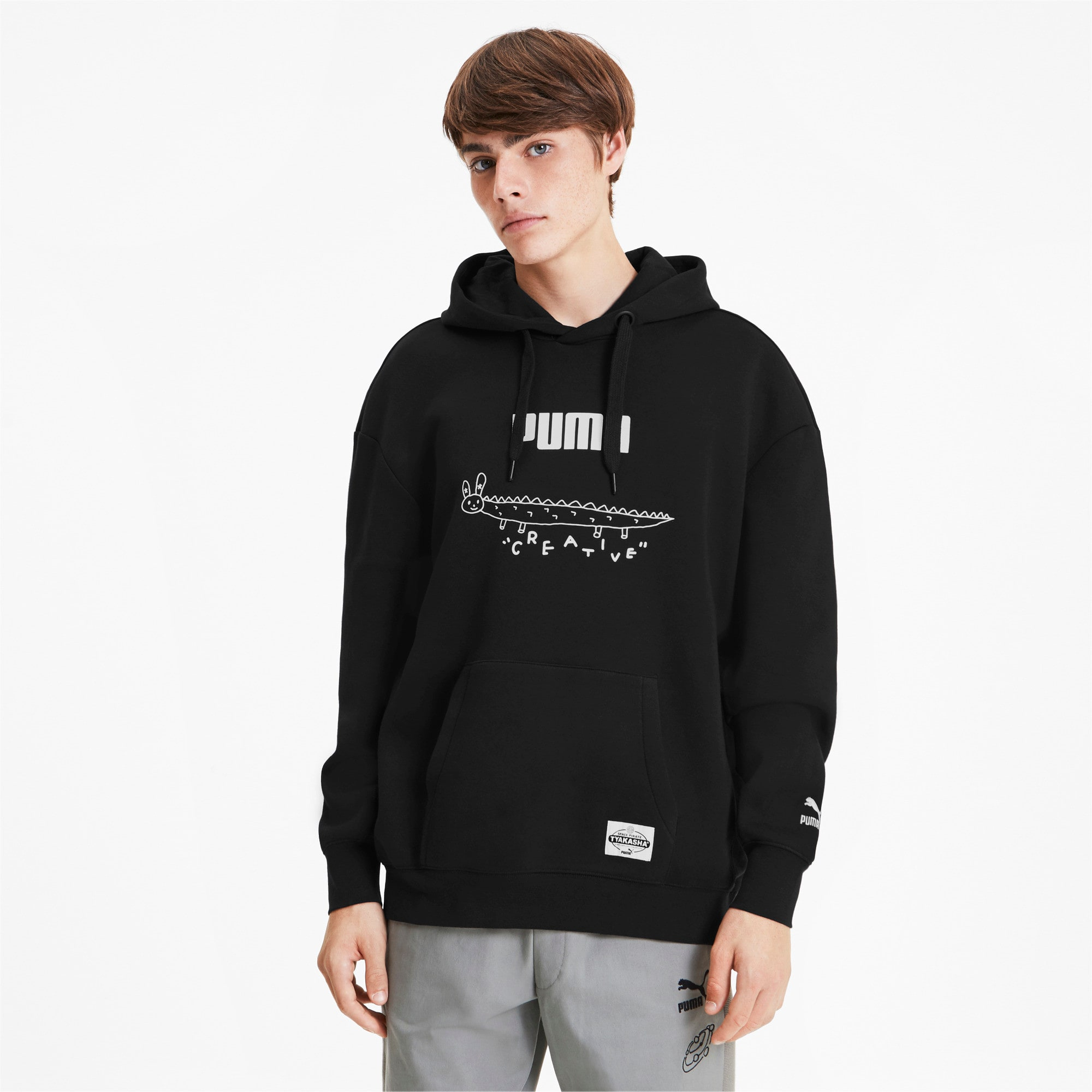 Thumbnail 2 van PUMA x TYAKASHA-herenhoodie, Cotton Black, medium