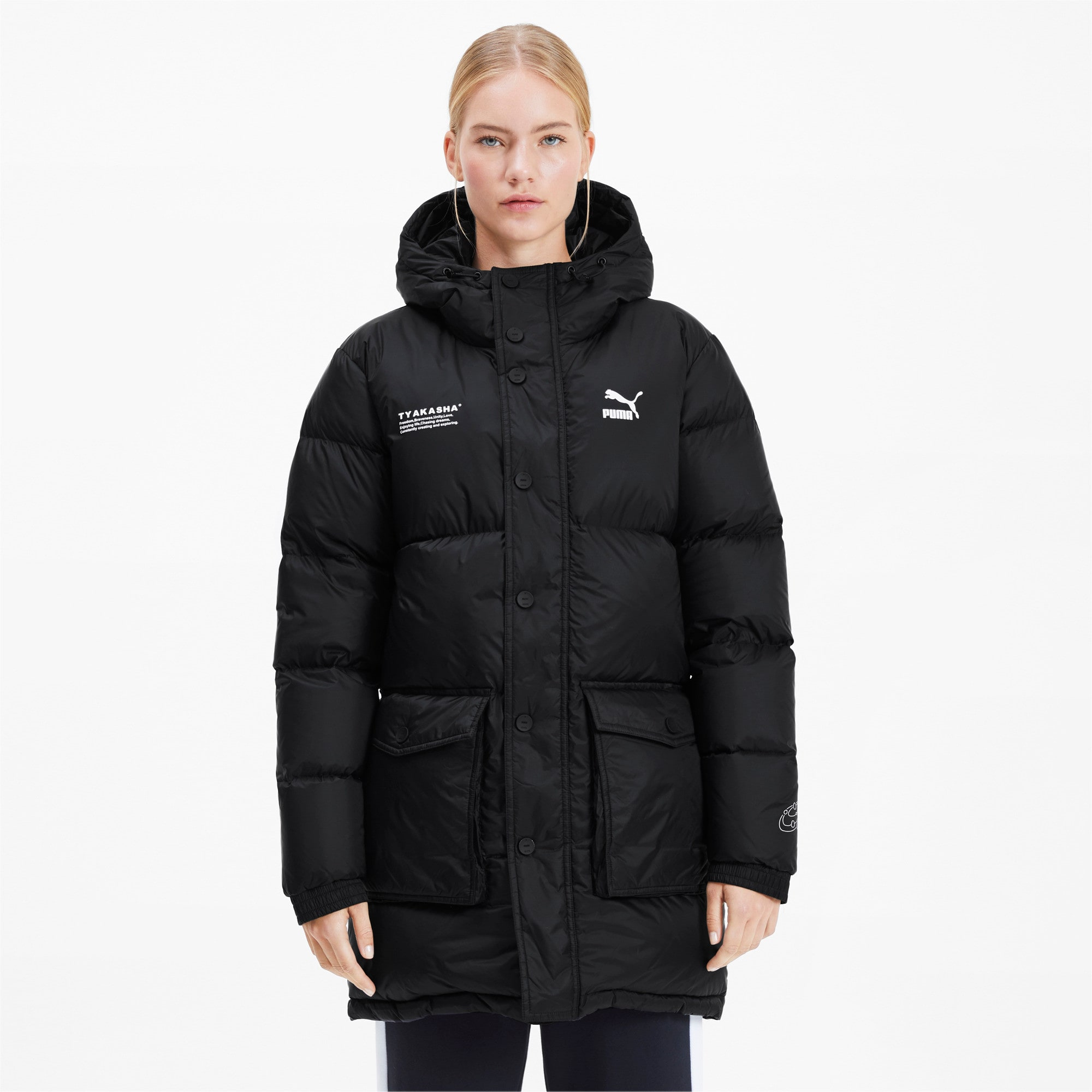 Thumbnail 2 of PUMA x TYAKASHA Woven Down Parka, Puma Black, medium