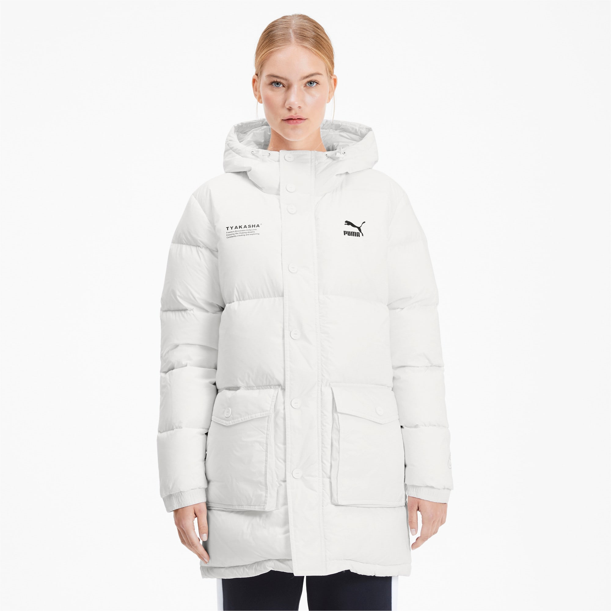 Thumbnail 2 of PUMA x TYAKASHA Woven Down Parka, Puma White, medium