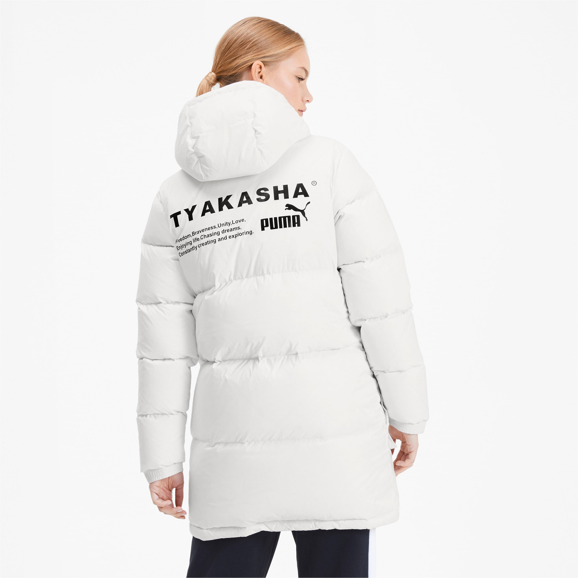 Thumbnail 3 of PUMA x TYAKASHA Woven Down Parka, Puma White, medium