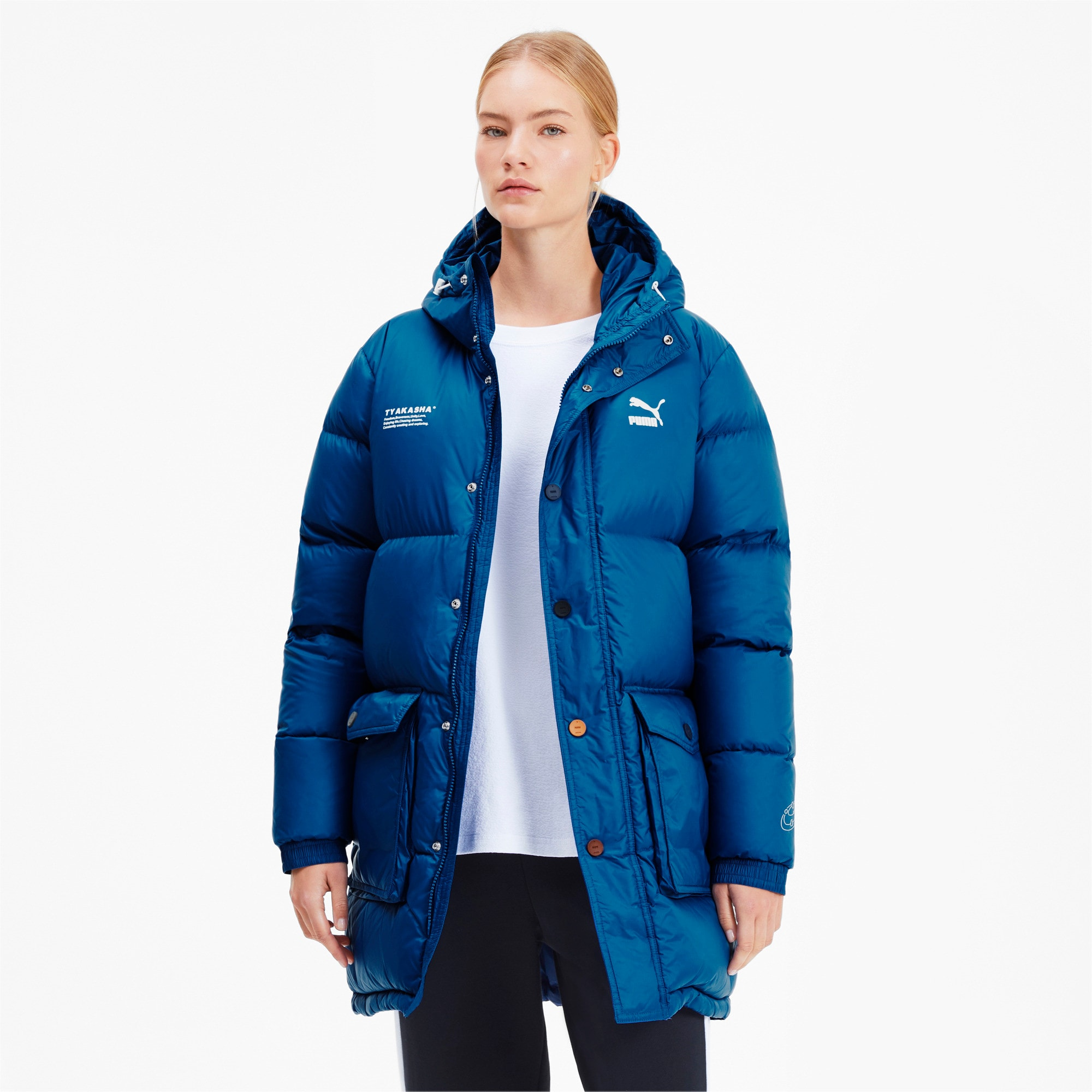 Thumbnail 2 of PUMA x TYAKASHA Woven Down Parka, Galaxy Blue, medium
