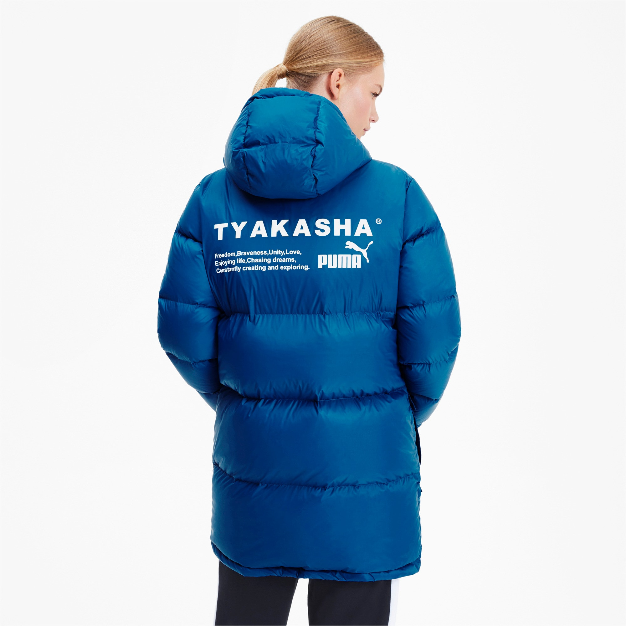 Thumbnail 3 of PUMA x TYAKASHA Woven Down Parka, Galaxy Blue, medium
