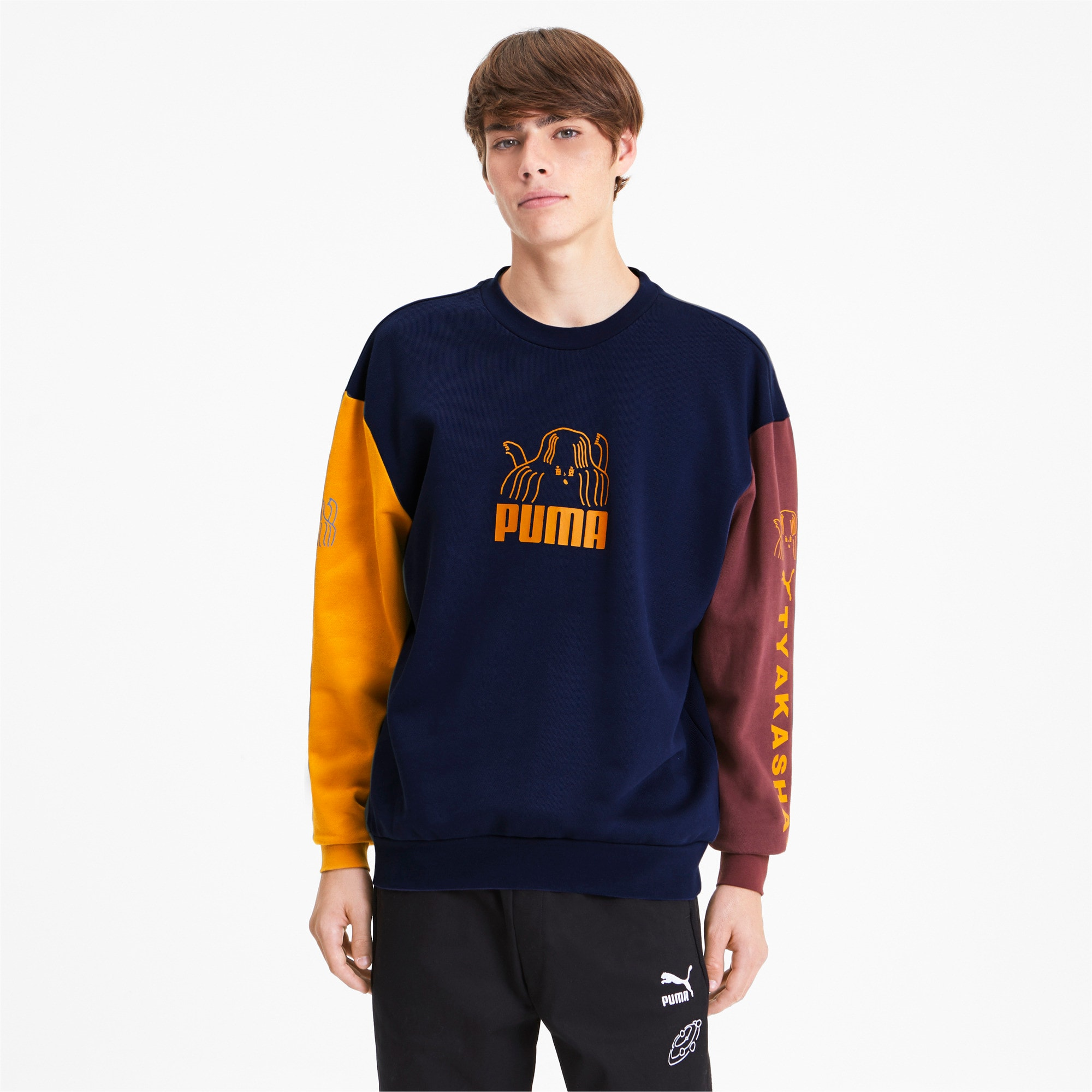 Thumbnail 2 of PUMA x TYAKASHA Crew Men's Sweater, Peacoat, medium