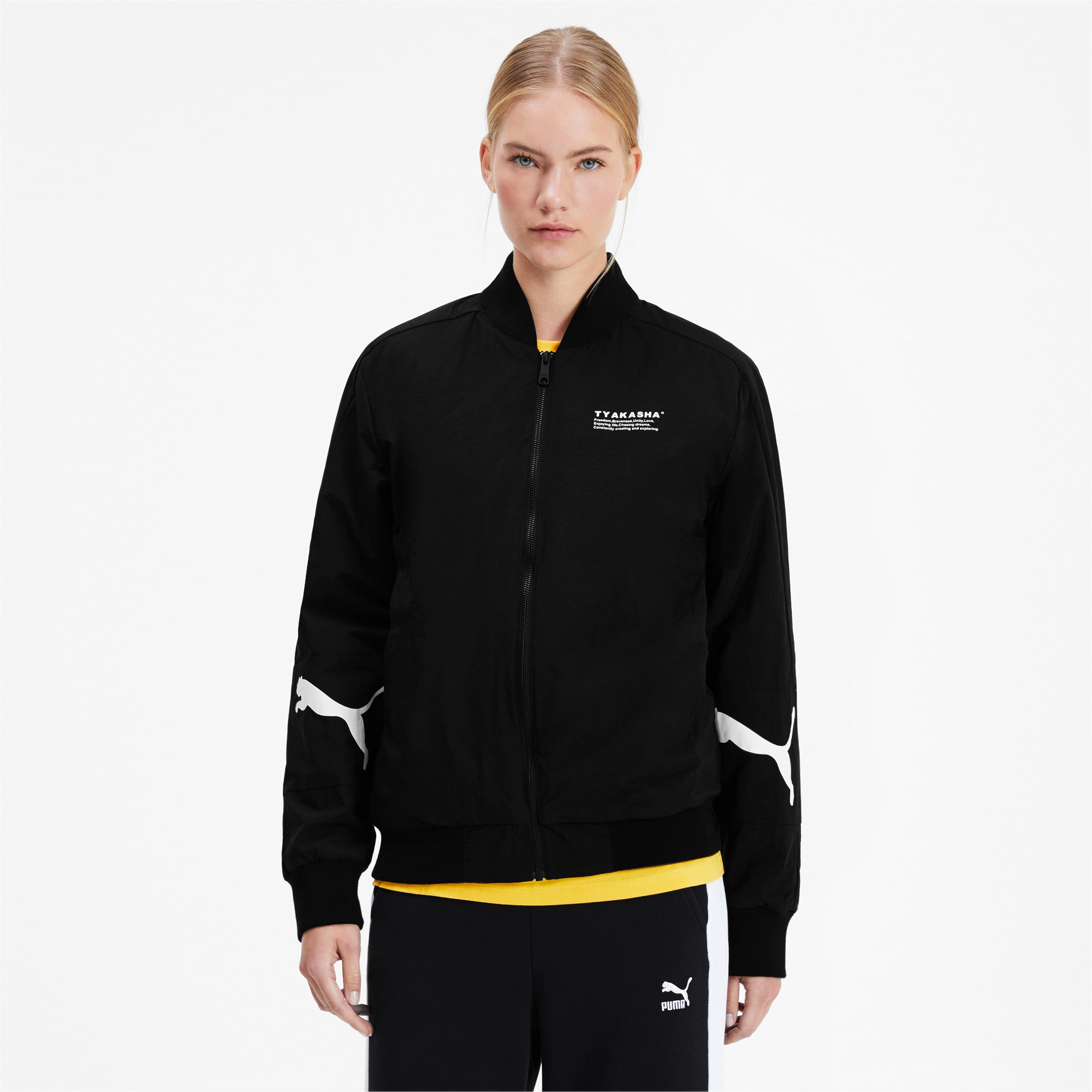 Thumbnail 2 of PUMA x TYAKASHA Woven Bomber Jacket, Puma Black, medium