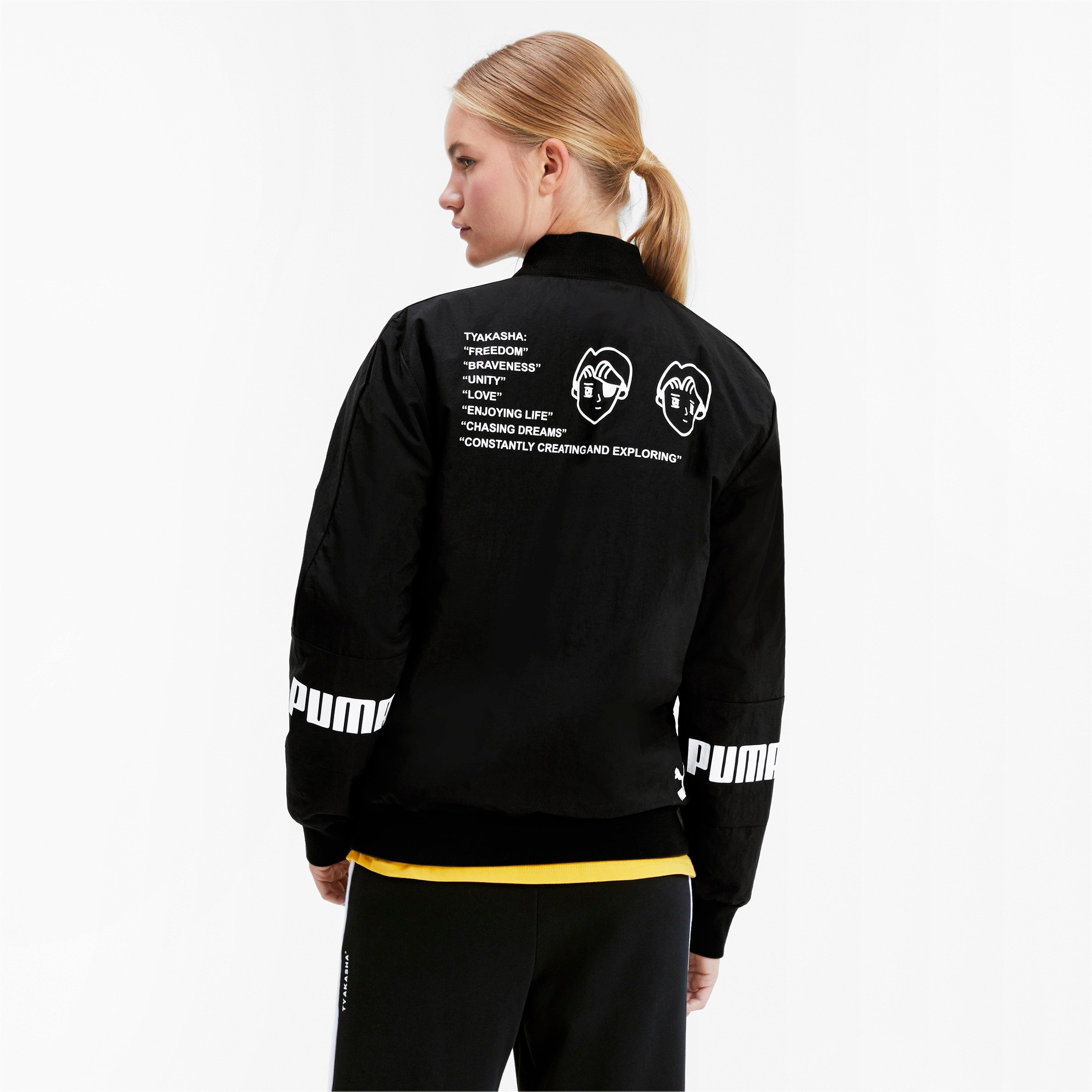 Thumbnail 3 of PUMA x TYAKASHA Woven Bomber Jacket, Puma Black, medium