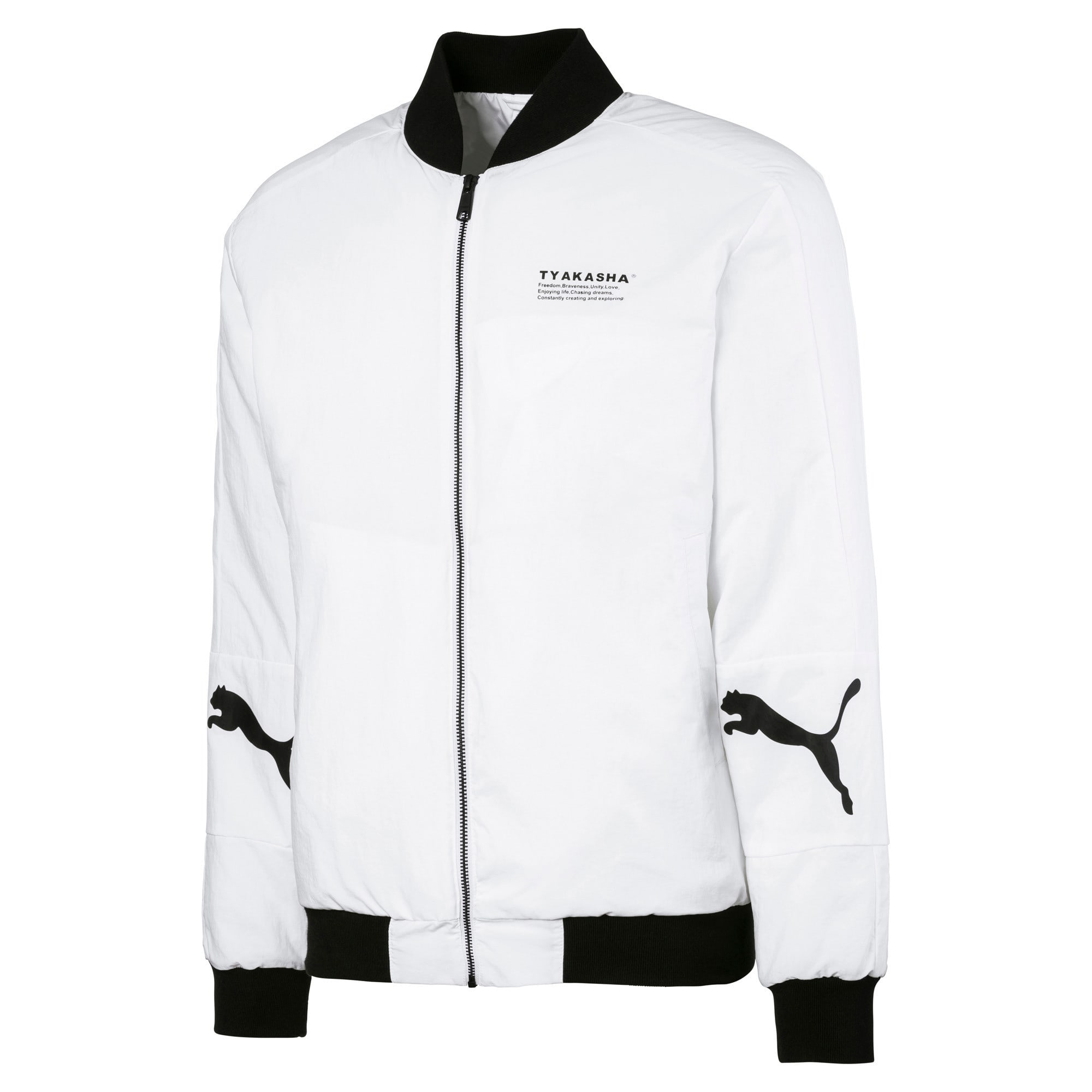 Thumbnail 1 of PUMA x TYAKASHA Woven Bomber Jacket, Puma White, medium