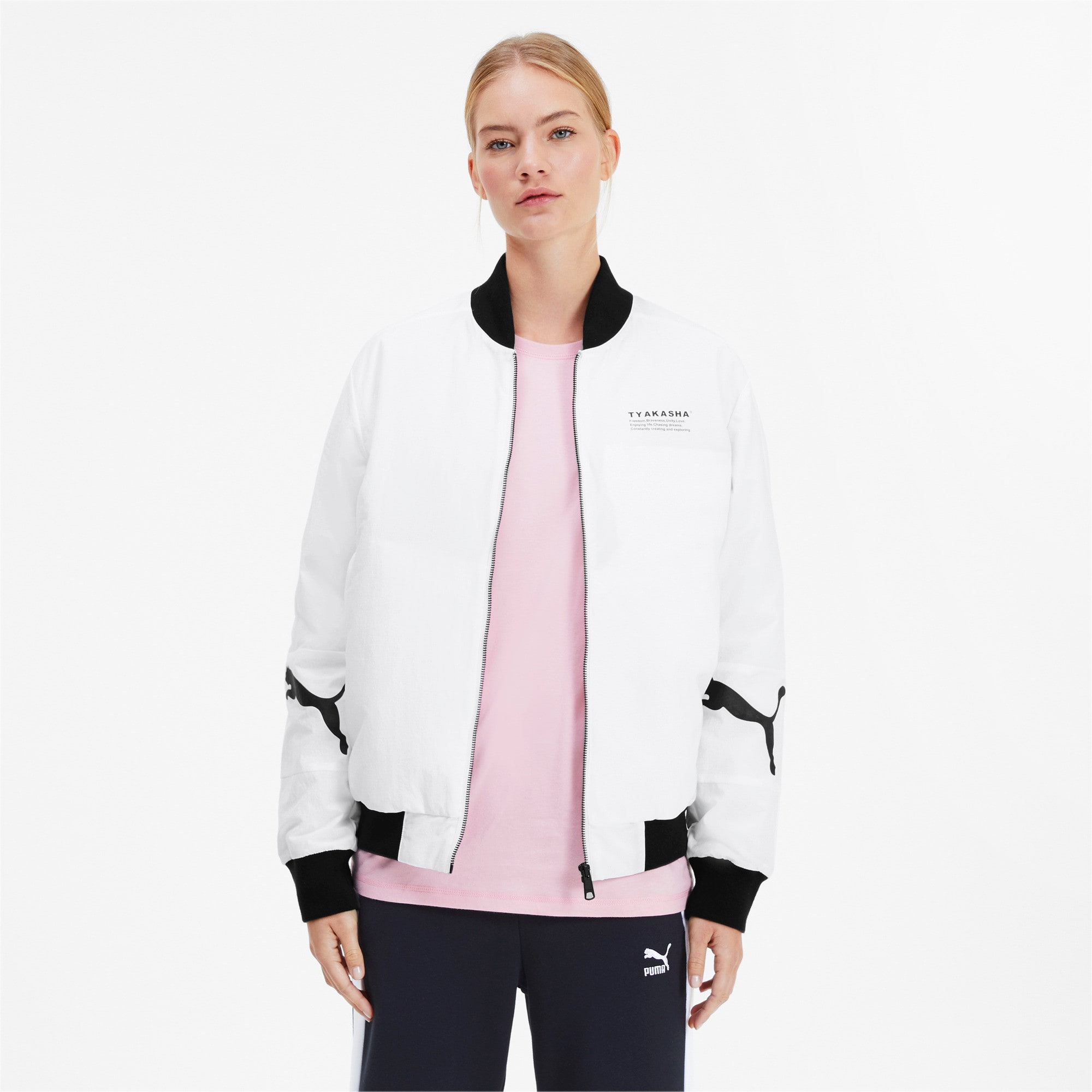 Thumbnail 2 of PUMA x TYAKASHA Woven Bomber Jacket, Puma White, medium