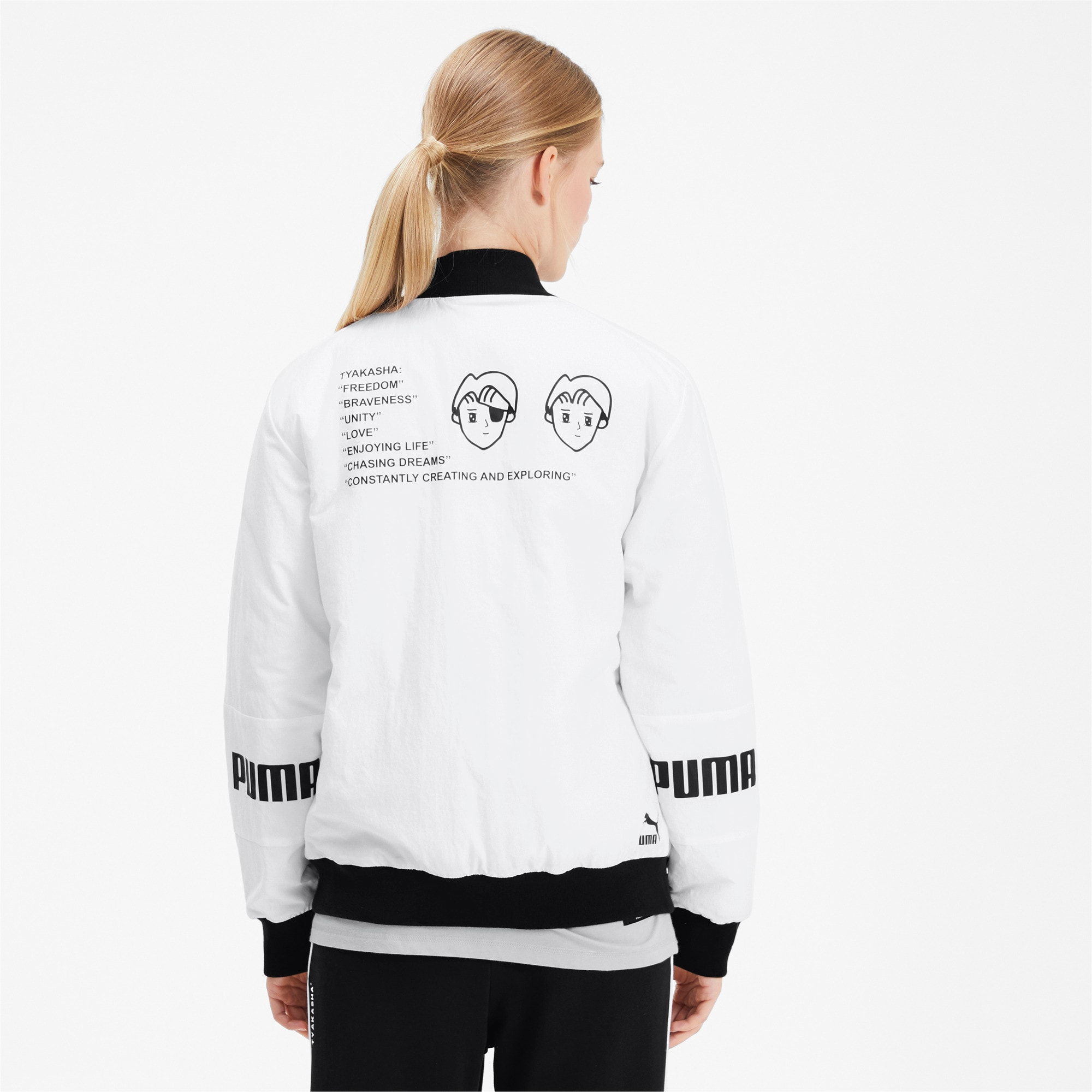 Thumbnail 3 of PUMA x TYAKASHA Woven Bomber Jacket, Puma White, medium