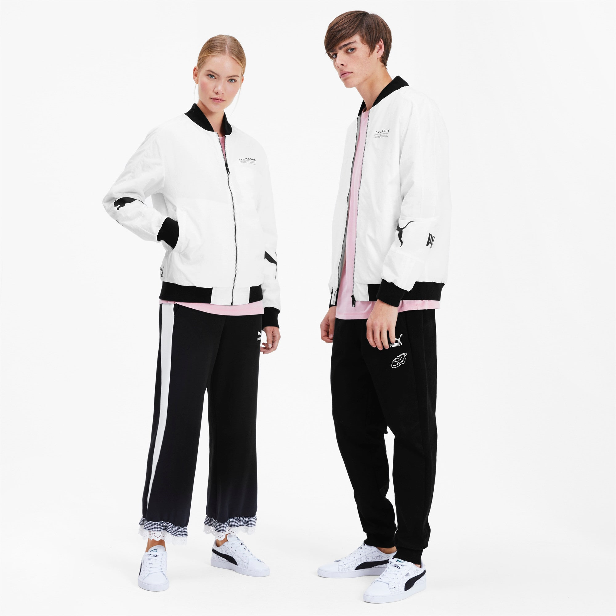 Thumbnail 4 of PUMA x TYAKASHA Woven Bomber Jacket, Puma White, medium