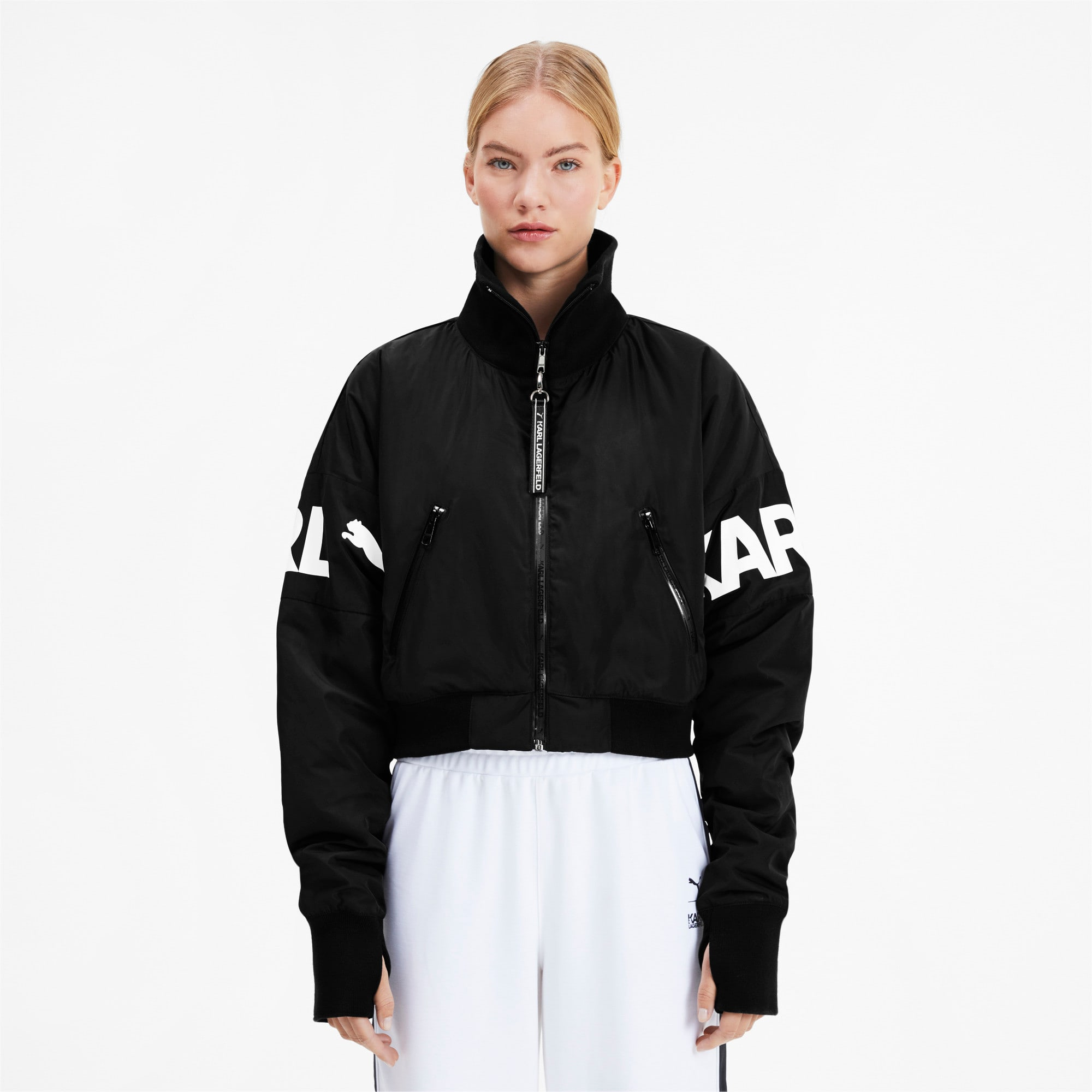 Thumbnail 1 of PUMA x KARL LAGERFELD Women's Bomber Jacket, Puma Black, medium