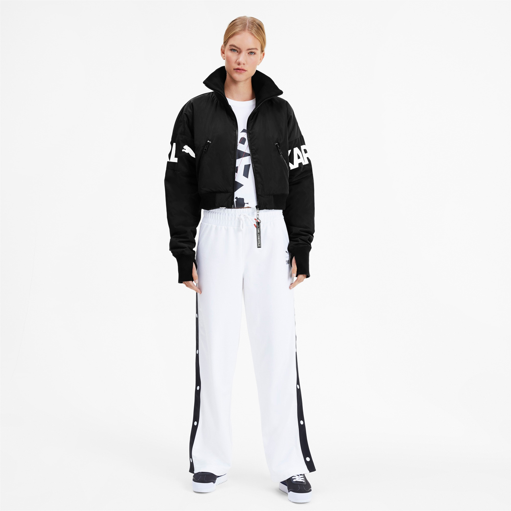 Thumbnail 3 of PUMA x KARL LAGERFELD Women's Bomber Jacket, Puma Black, medium