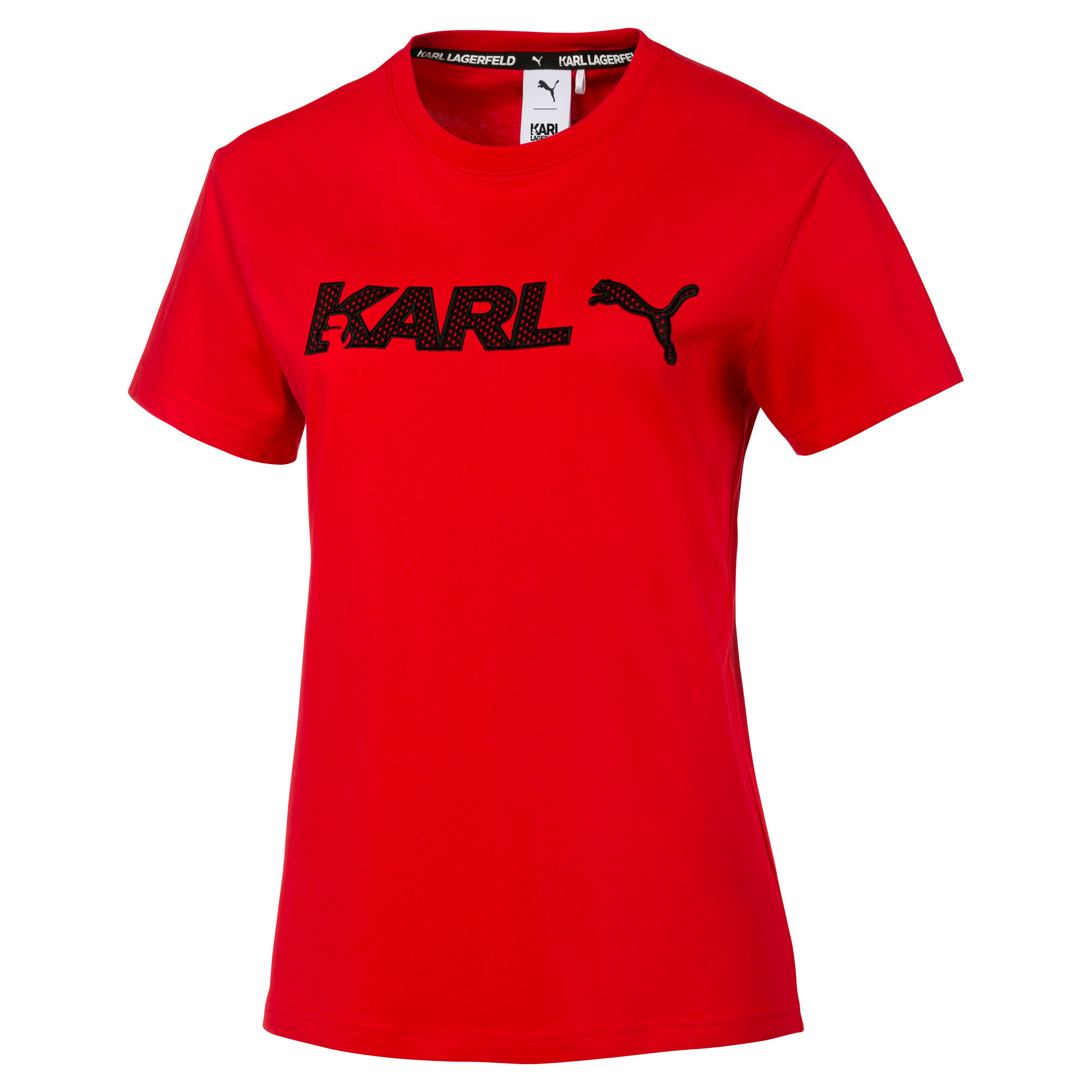 PUMA x KARL LAGERFELD Women's Tee, High Risk Red, large