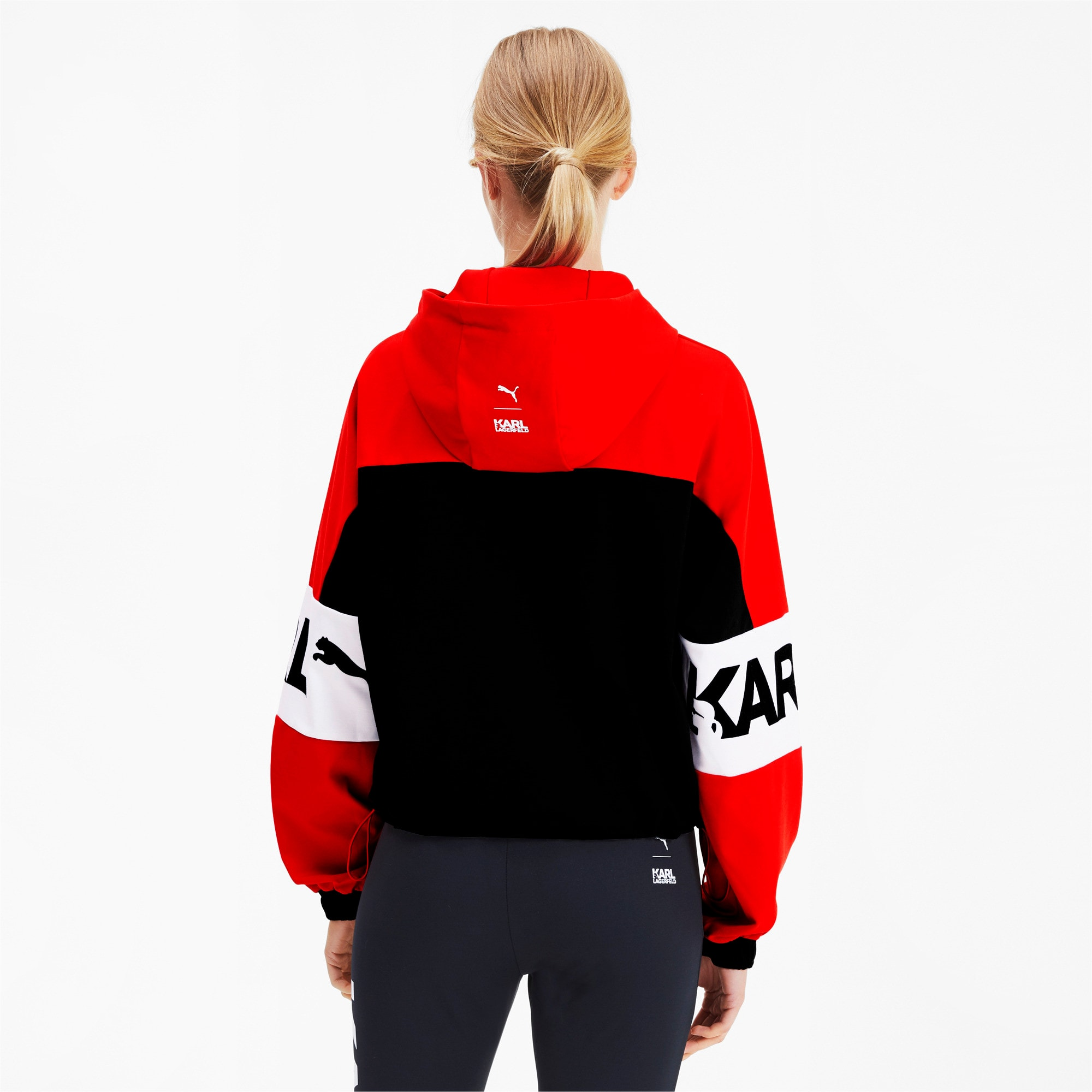 PUMA x KARL LAGERFELD XTG Hooded Half Zip Women's Sweater, High Risk Red, large