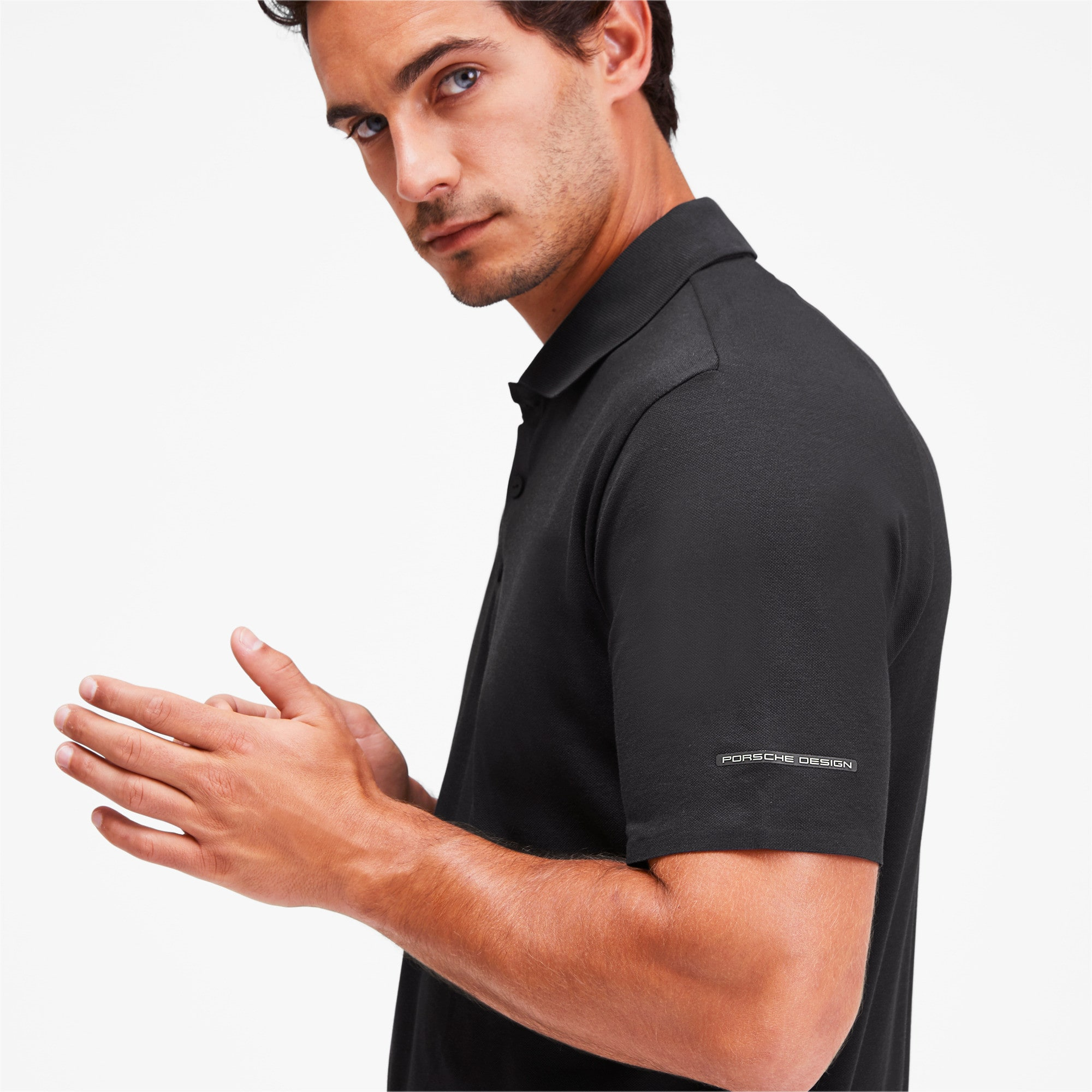 Thumbnail 6 of Men's Motorsports Polo, Jet Black, medium