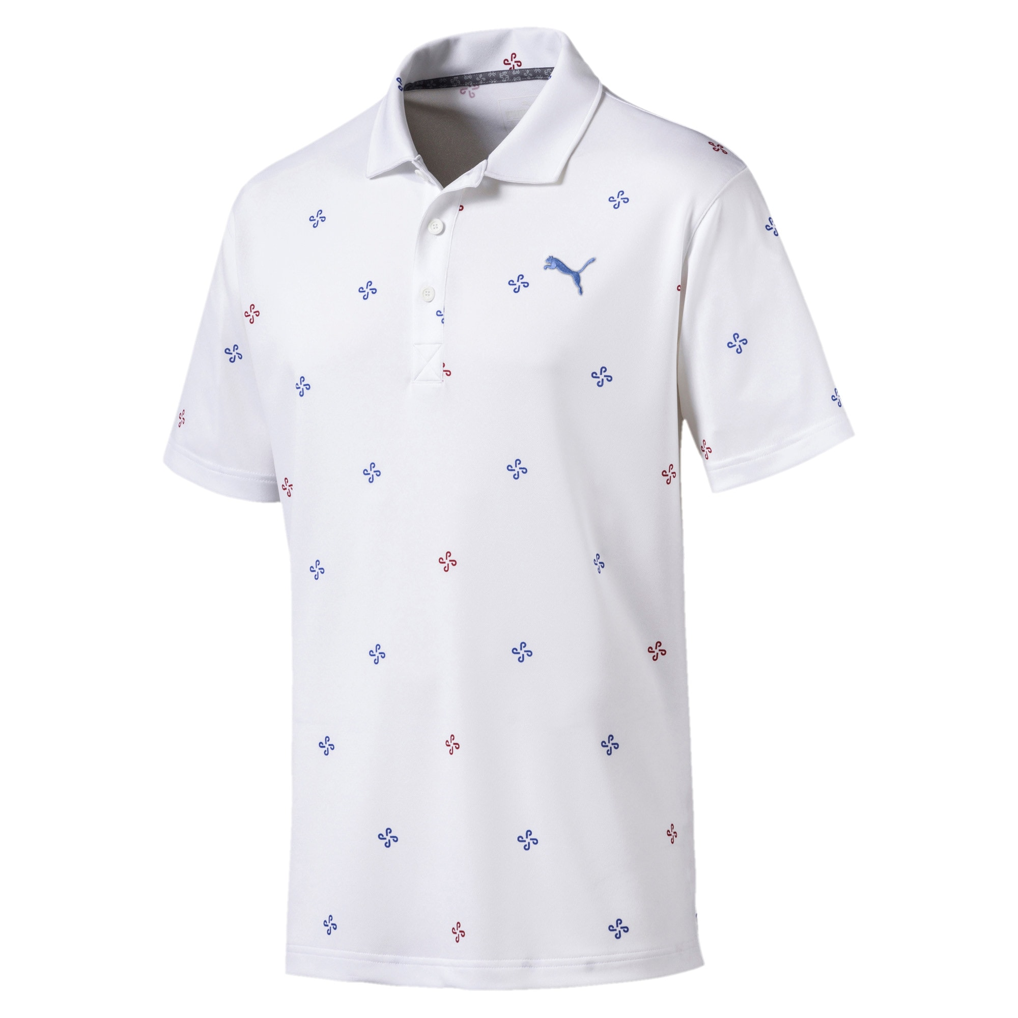 Ditsy Men's Golf Polo, Bright White, large