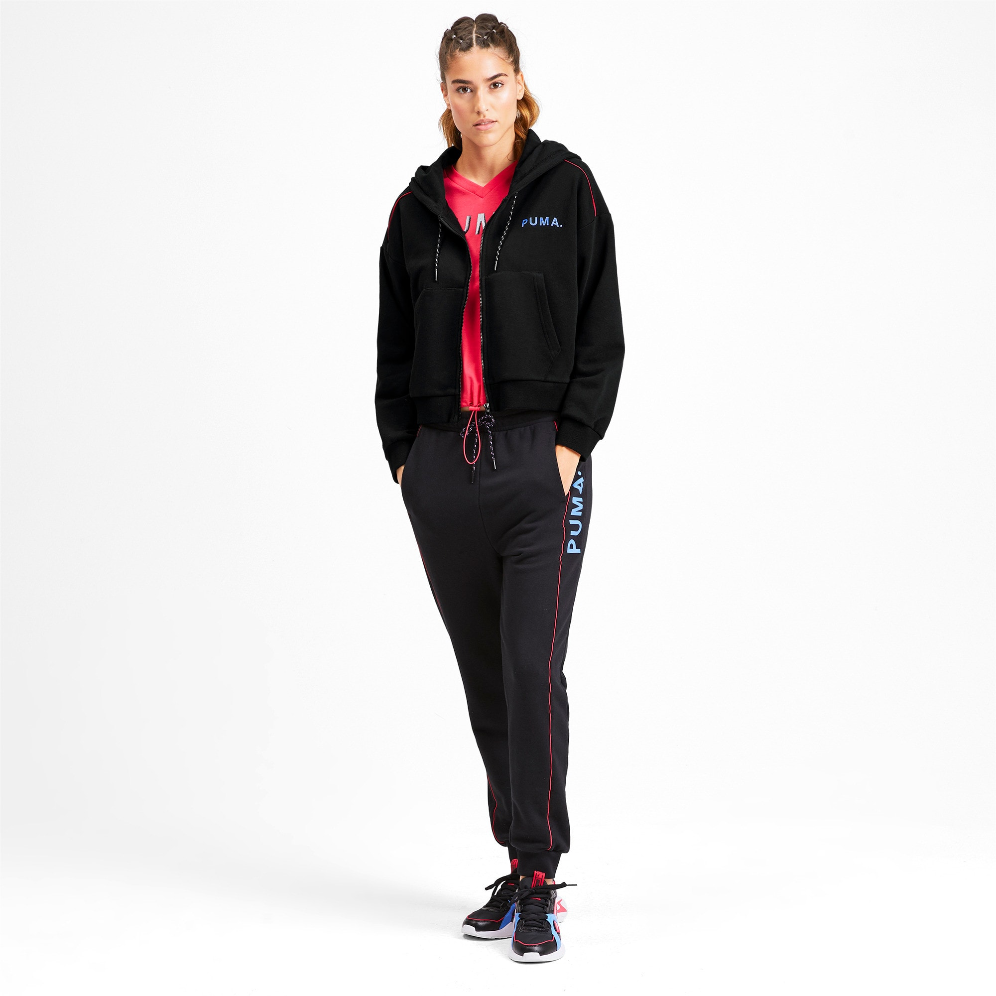 Chase Cropped Full Zip Women's Hoodie, Puma Black, large